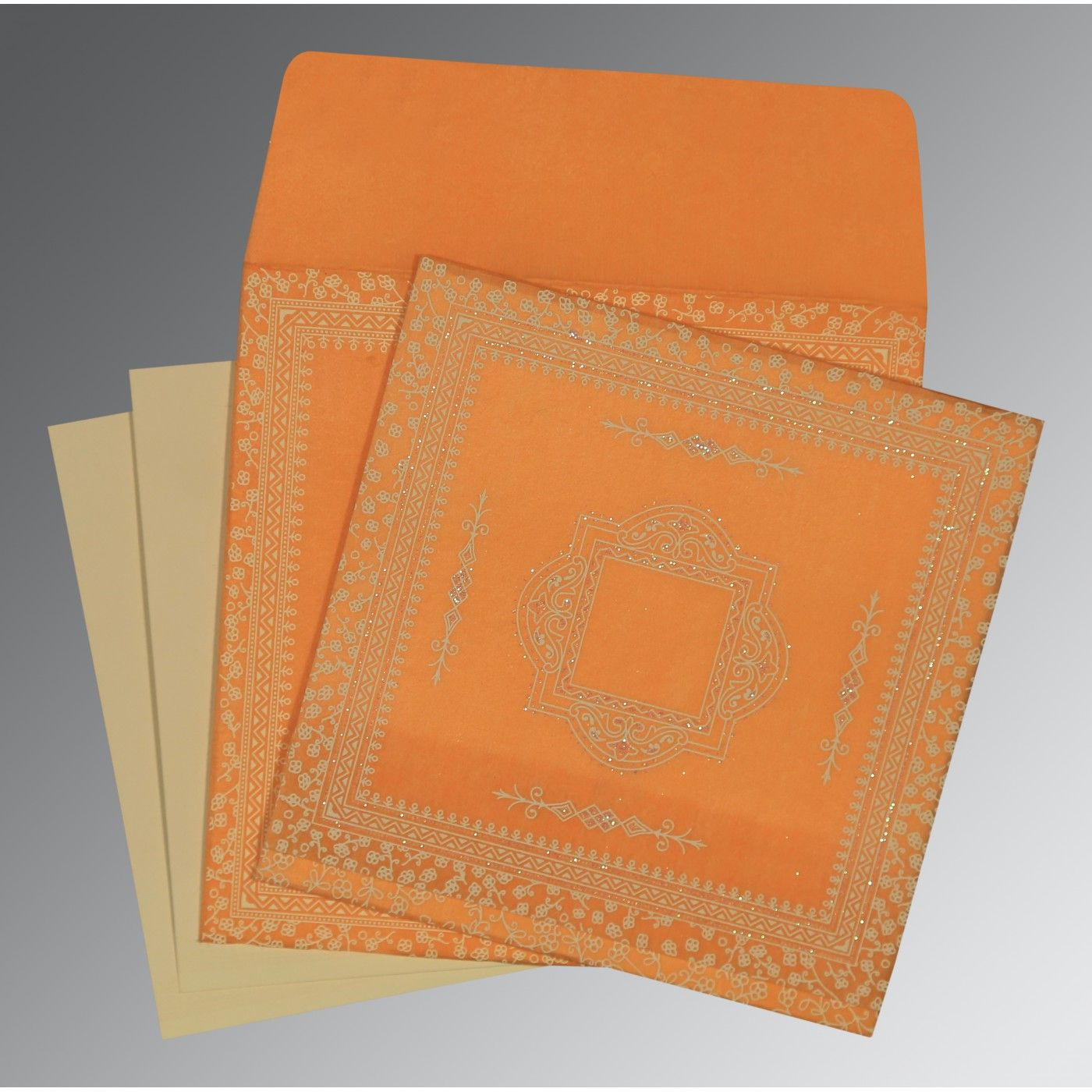 ORANGE WOOLY GLITTER WEDDING CARD : CD-8205H - IndianWeddingCards