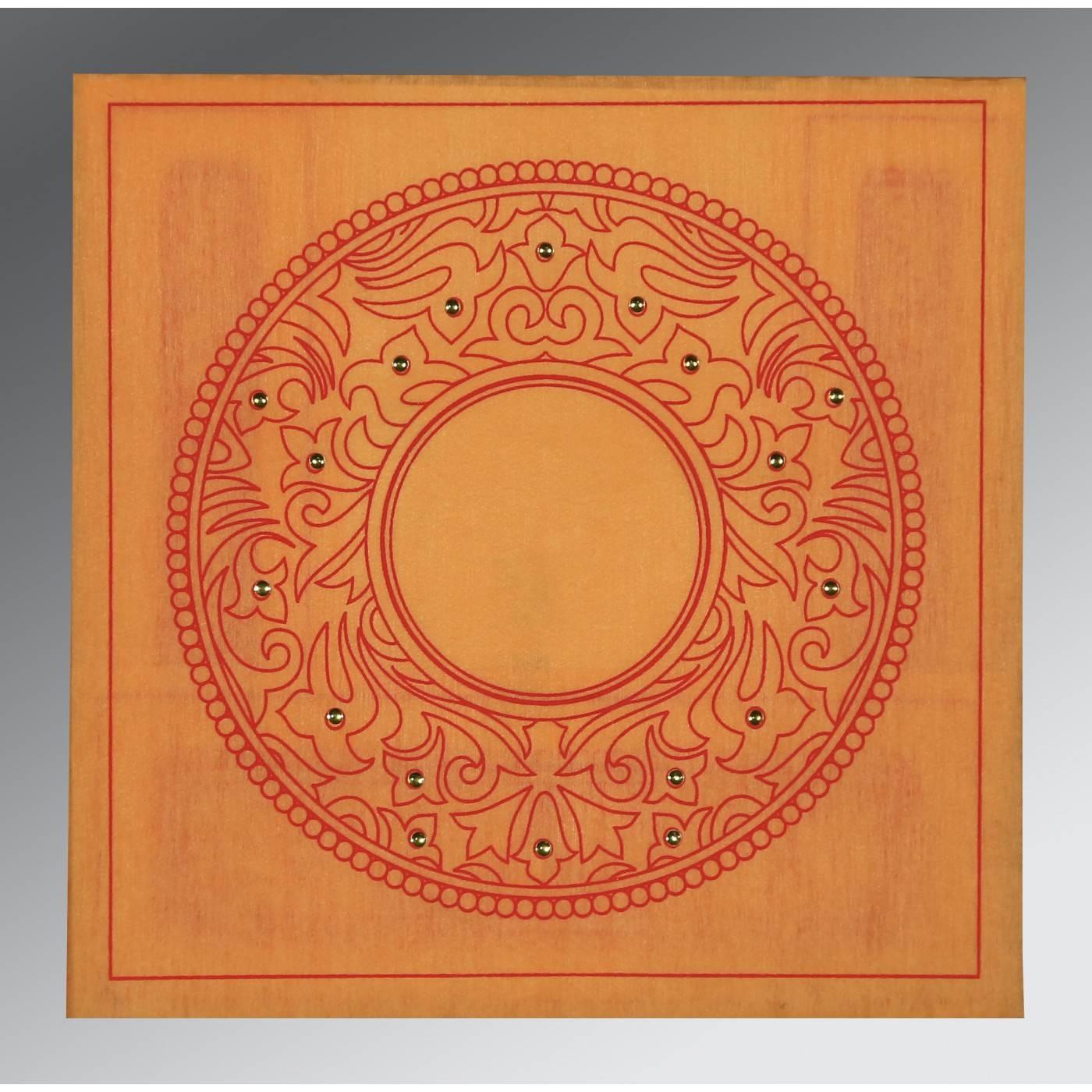ORANGE WOOLY SCREEN PRINTED WEDDING CARD : CD-8214H - IndianWeddingCards