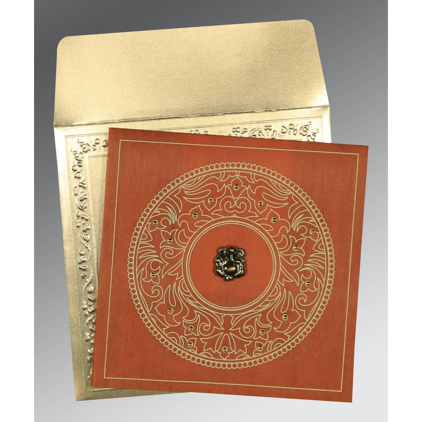 BURNT ORANGE WOOLY SCREEN PRINTED WEDDING CARD : CIN-8214E - IndianWeddingCards
