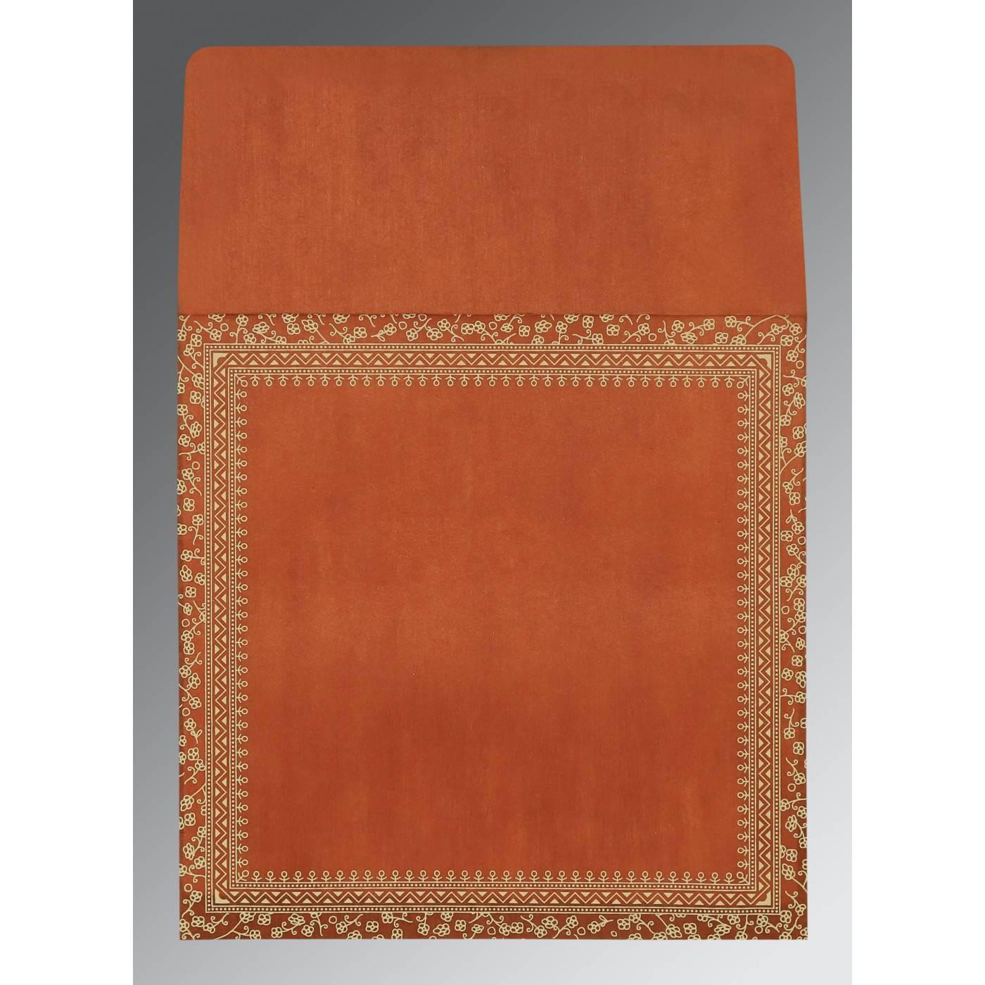 BURNT ORANGE WOOLY SCREEN PRINTED WEDDING CARD : CRU-1050 - IndianWeddingCards