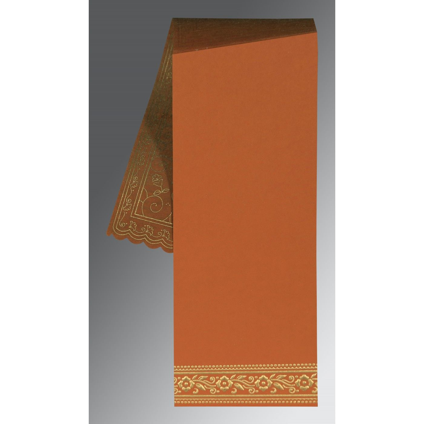 BURNT ORANGE WOOLY SCREEN PRINTED WEDDING INVITATION : CRU-8220C - IndianWeddingCards
