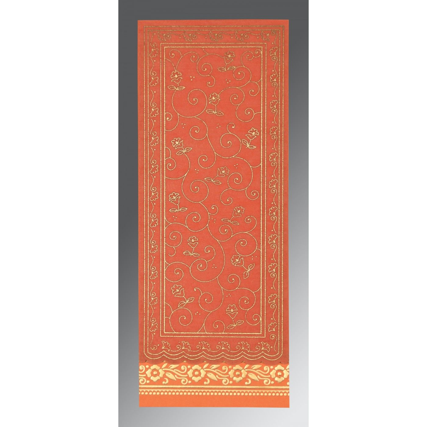 SALMON WOOLY SCREEN PRINTED WEDDING INVITATION : CS-8220N - IndianWeddingCards