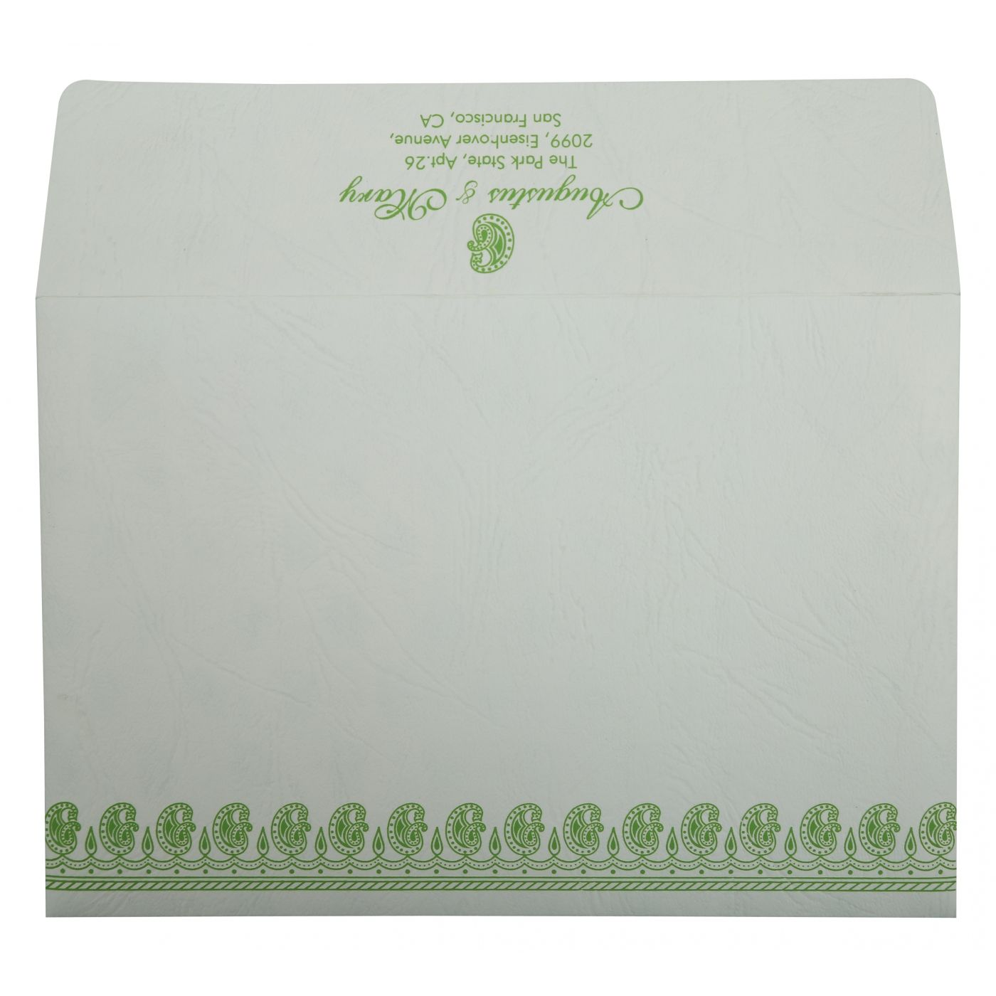 PARROT GREEN MATTE PAISLEY THEMED - SCREEN PRINTED WEDDING INVITATION : CIN-807B - IndianWeddingCards