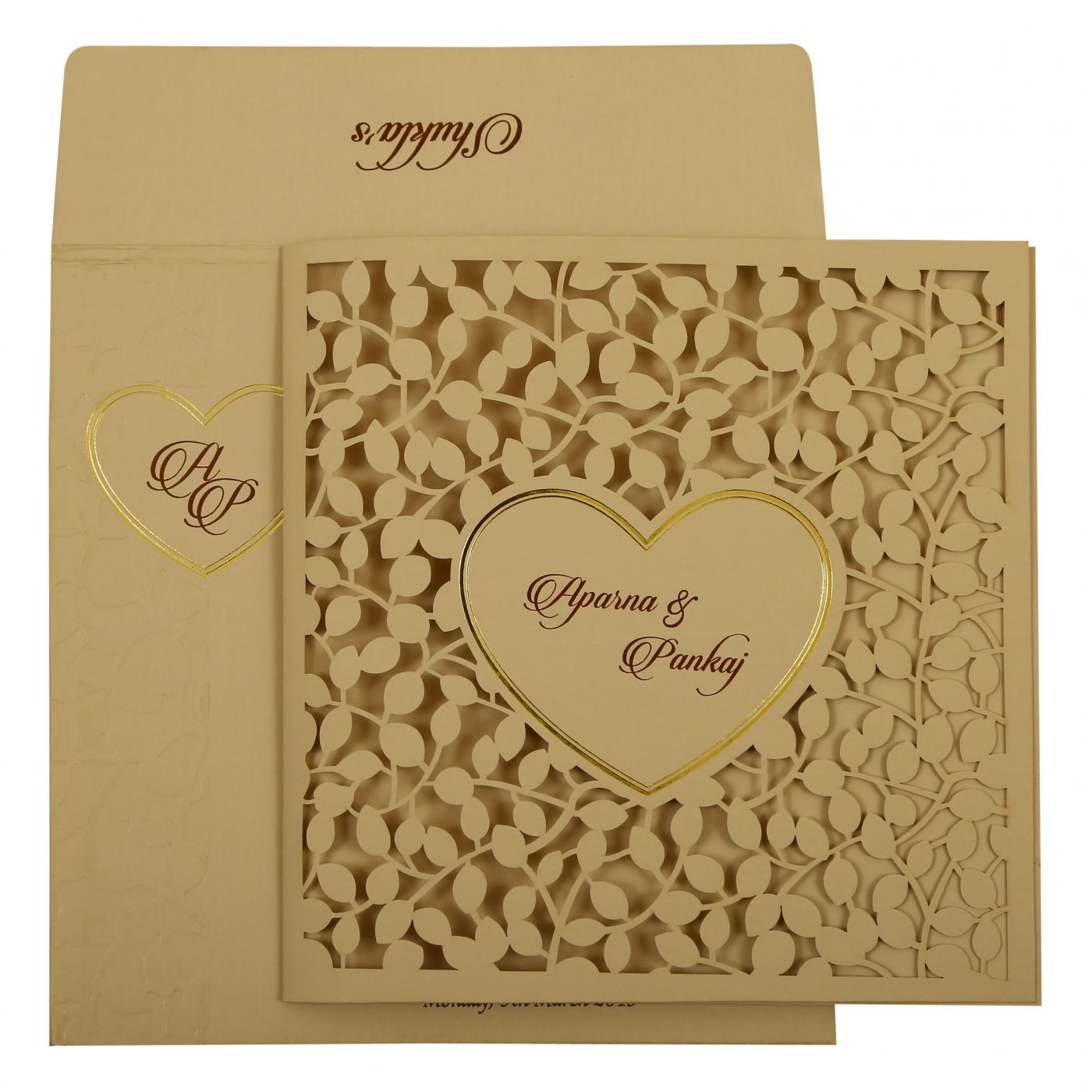 PEACH MATTE FLORAL THEMED - LASER CUT WEDDING INVITATION : CI-1927 - IndianWeddingCards