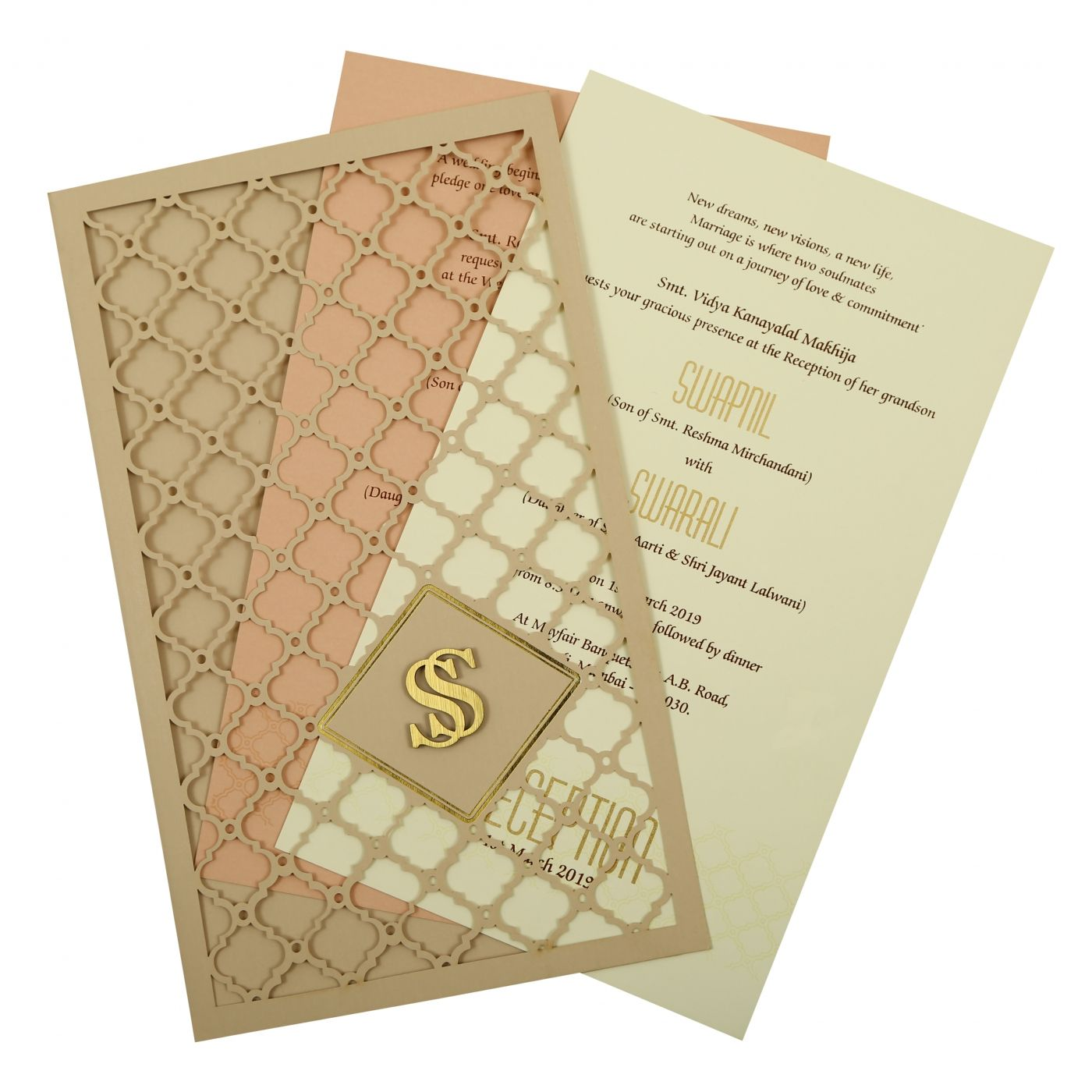 PEACH MATTE LASER CUT WEDDING INVITATION : CD-1840 - IndianWeddingCards
