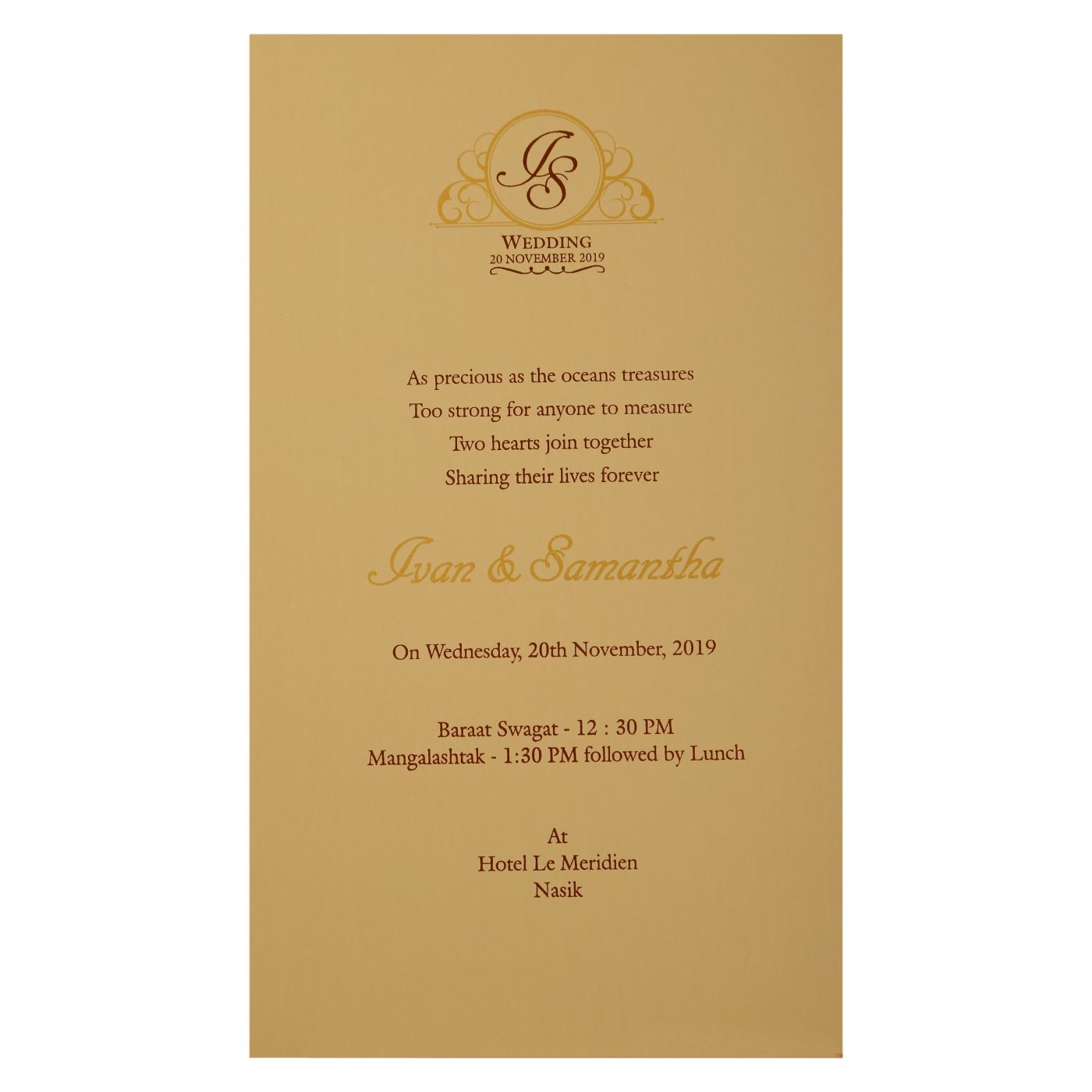 PEACH MATTE LASER CUT WEDDING INVITATION : CIN-1910 - IndianWeddingCards