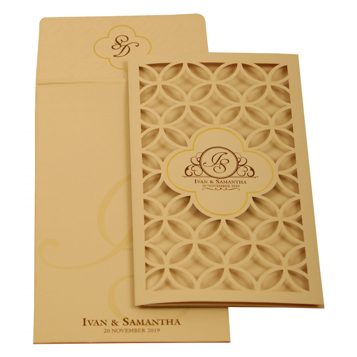 PEACH MATTE LASER CUT WEDDING INVITATION : CS-1910 - IndianWeddingCards
