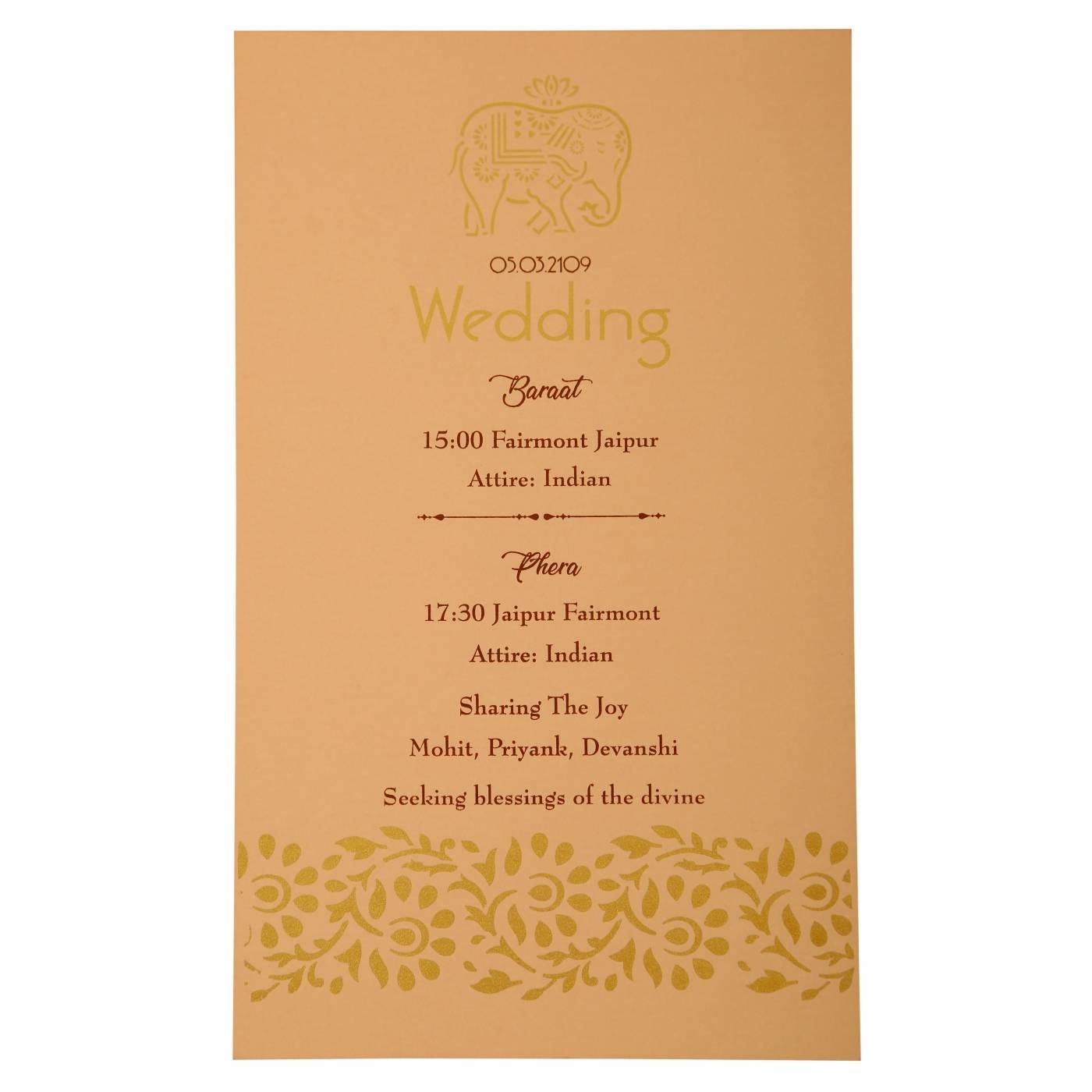 PEACH MATTE LASER CUT WEDDING INVITATION : CW-1923 - IndianWeddingCards