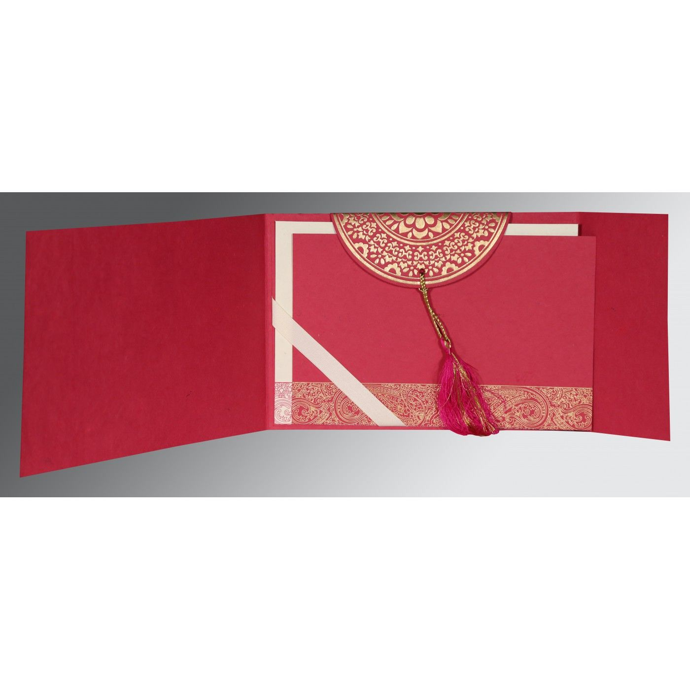 HOT PINK HANDMADE COTTON EMBOSSED WEDDING CARD : CI-8234I - IndianWeddingCards