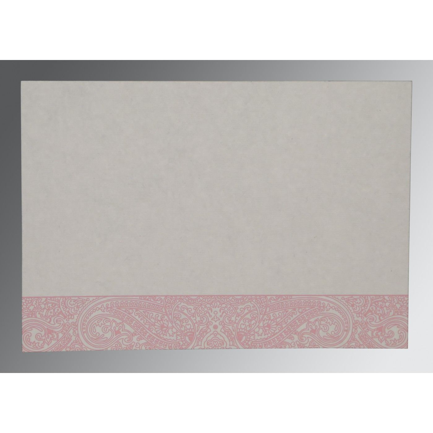 ENGLISH VIOLET HANDMADE COTTON EMBOSSED WEDDING CARD : CRU-8234G - IndianWeddingCards