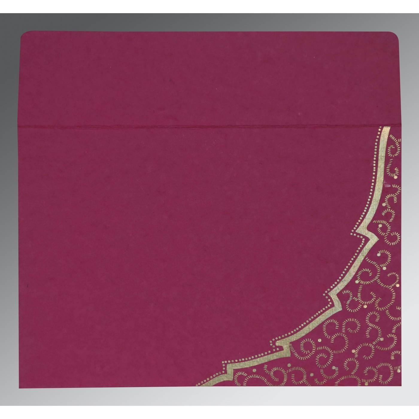 HOT PINK TRANSPARENT HANDMADE COTTON FLORAL THEMED - FOIL STAMPED WEDDING CARD : CRU-8219F - IndianWeddingCards