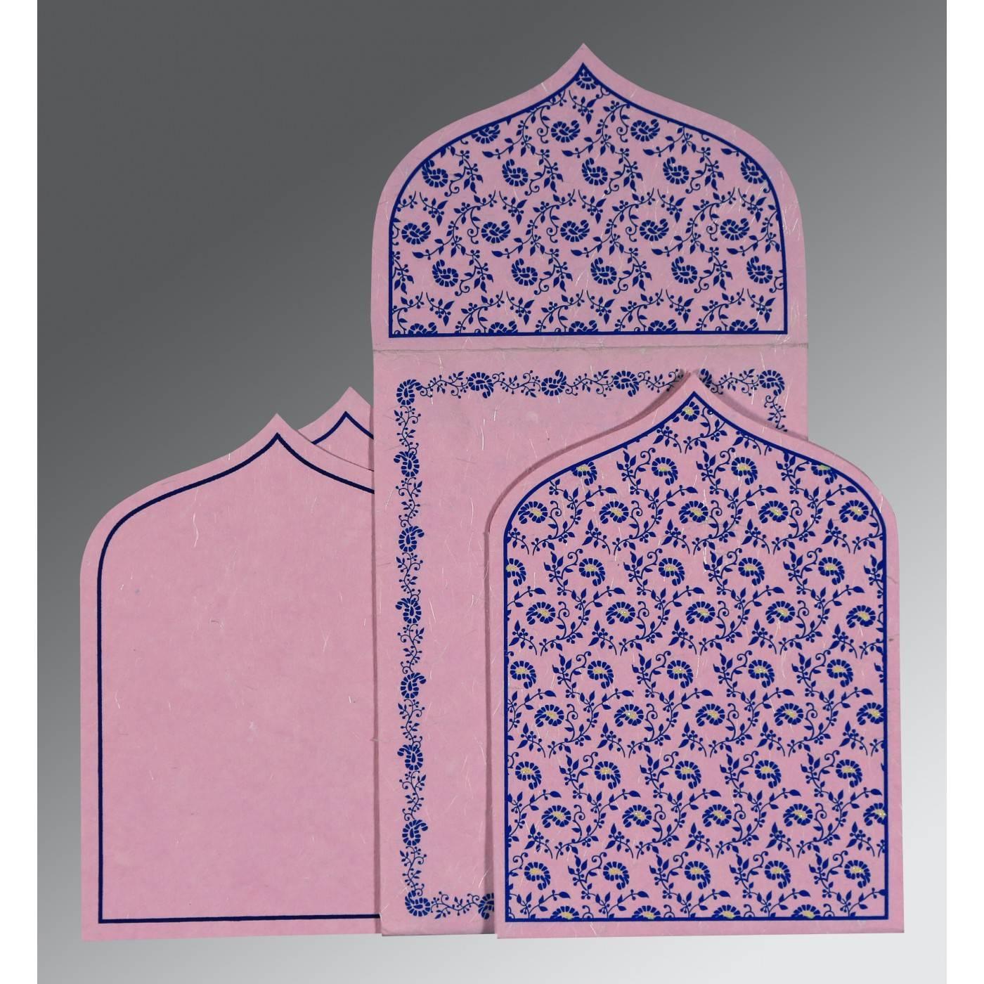 BLUSH PINK HANDMADE SILK PAISLEY THEMED - GLITTER WEDDING INVITATION : CD-8208J - IndianWeddingCards