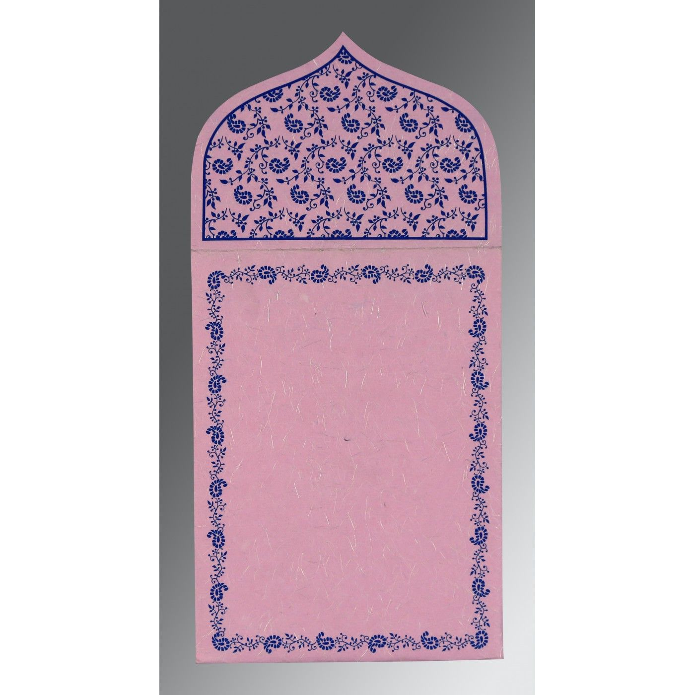 BLUSH PINK HANDMADE SILK PAISLEY THEMED - GLITTER WEDDING INVITATION : CI-8208J - IndianWeddingCards