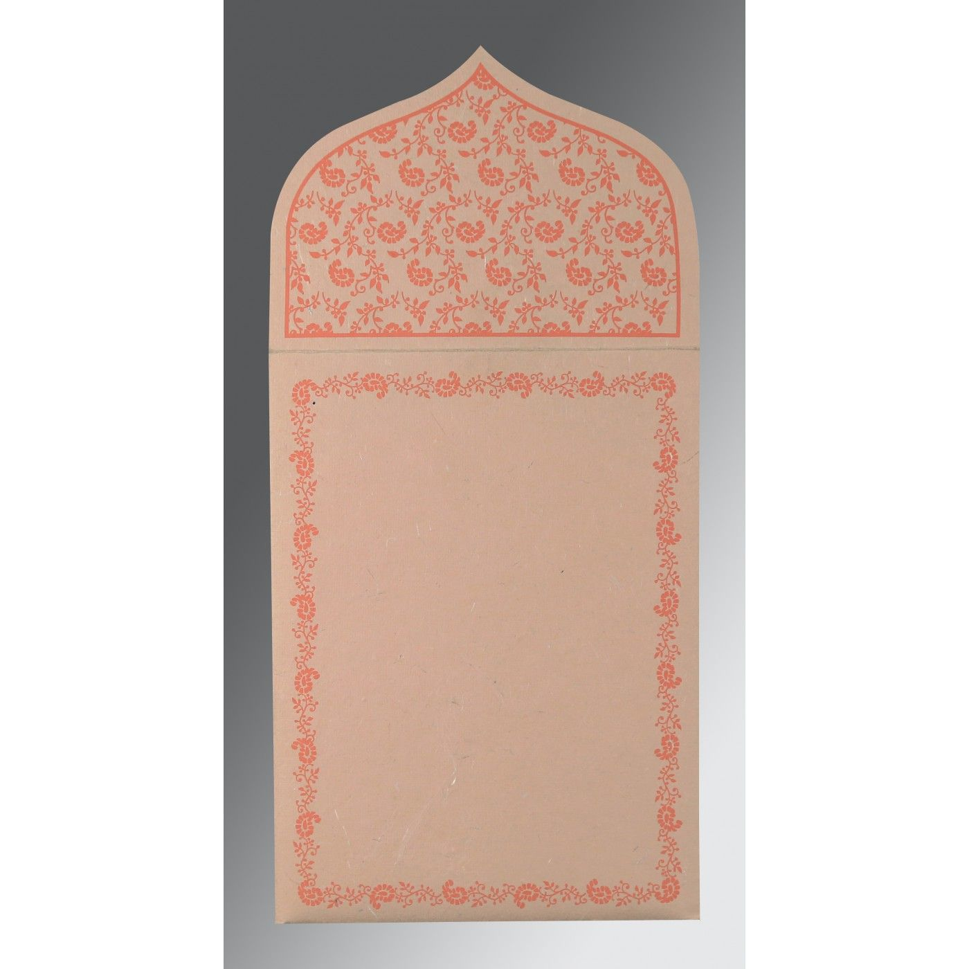PEACH HANDMADE SILK PAISLEY THEMED - GLITTER WEDDING INVITATION : CS-8208F - IndianWeddingCards