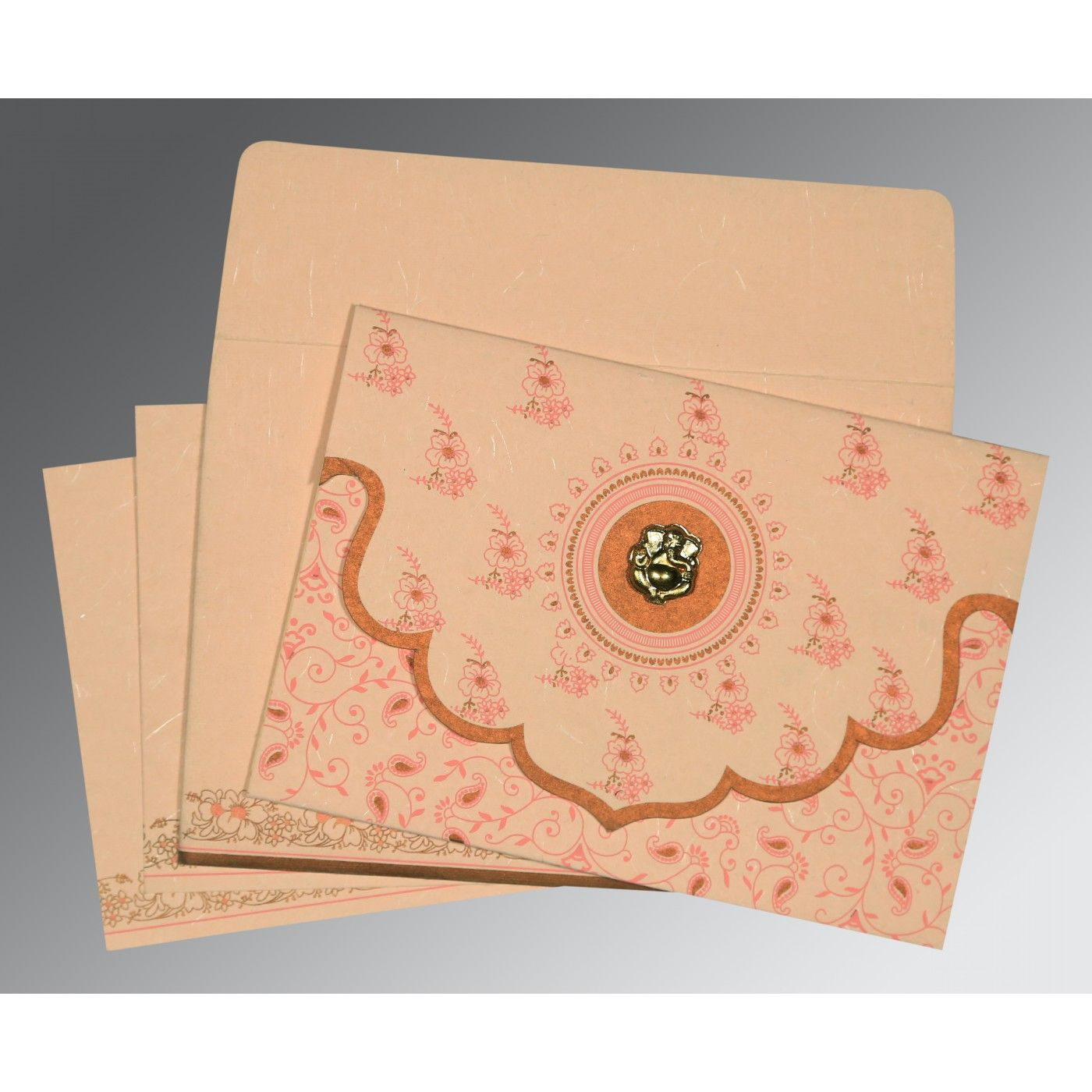 PEACH HANDMADE SILK SCREEN PRINTED WEDDING INVITATION : CIN-8207C - IndianWeddingCards
