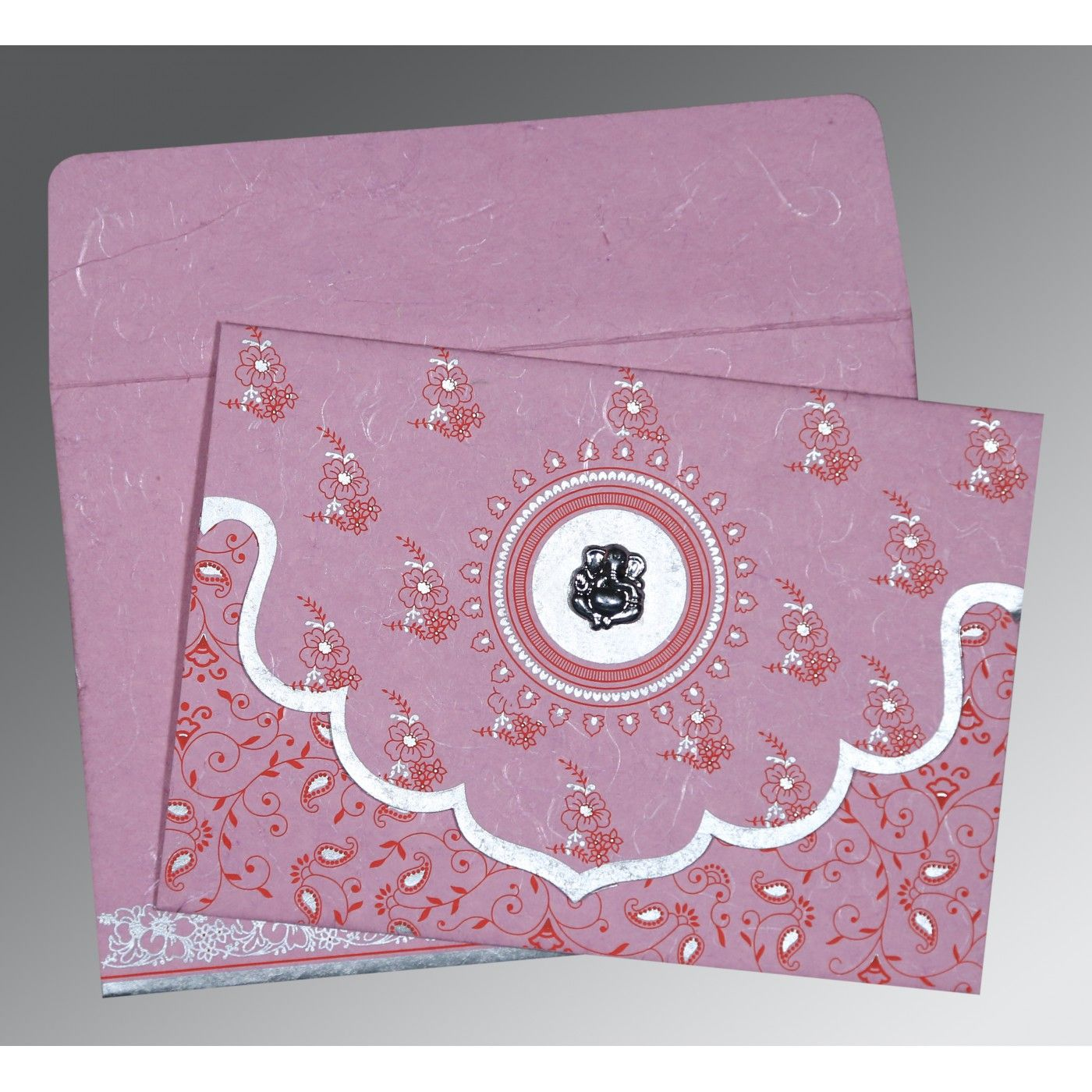 MAUVE PINK HANDMADE SILK SCREEN PRINTED WEDDING INVITATION : C-IN-8207K - IndianWeddingCards