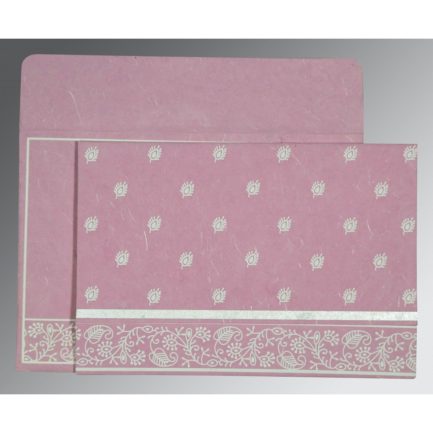 AZALEA PINK HANDMADE SILK SCREEN PRINTED WEDDING CARD : CIN-8215J - IndianWeddingCards