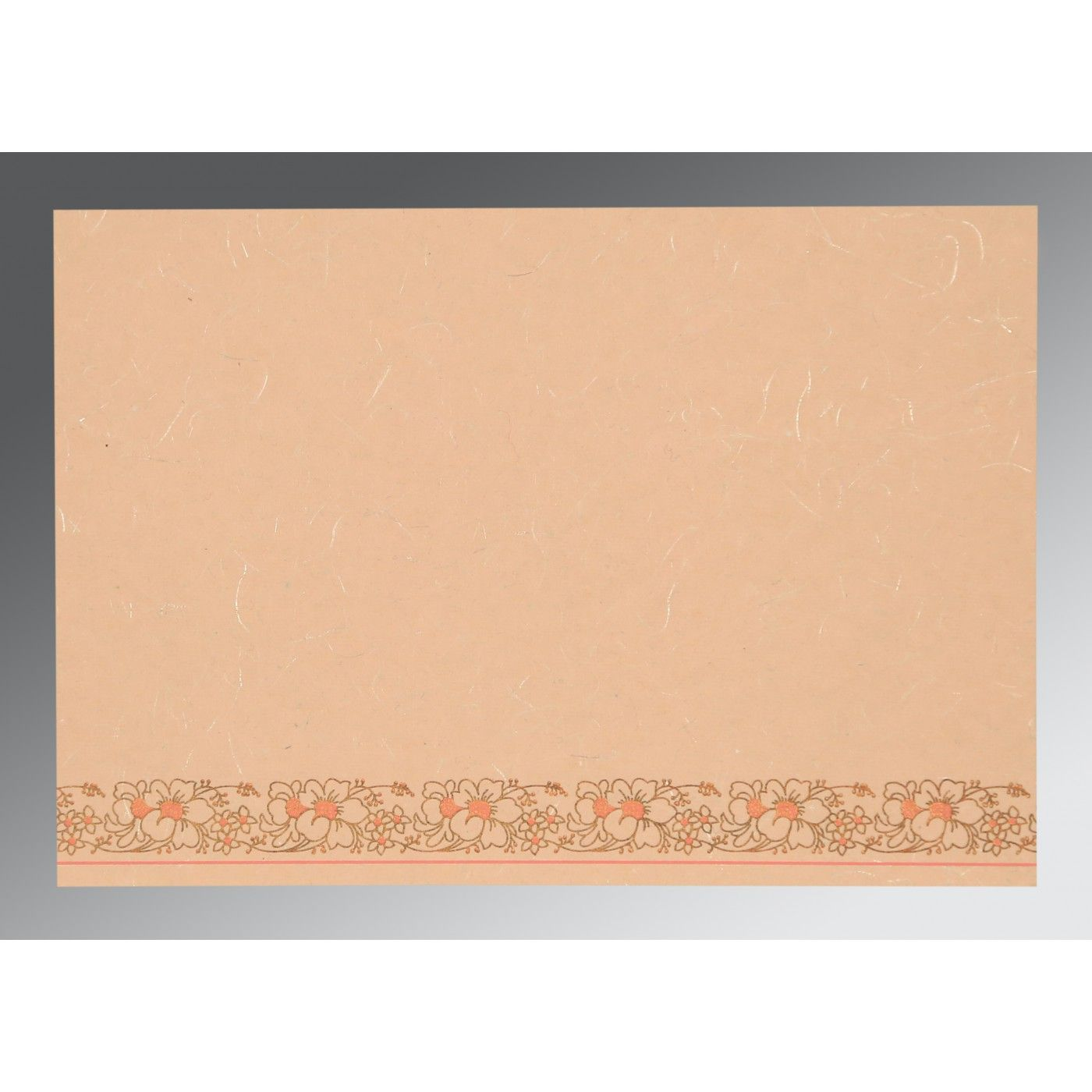PEACH HANDMADE SILK SCREEN PRINTED WEDDING INVITATION : CRU-8207C - IndianWeddingCards
