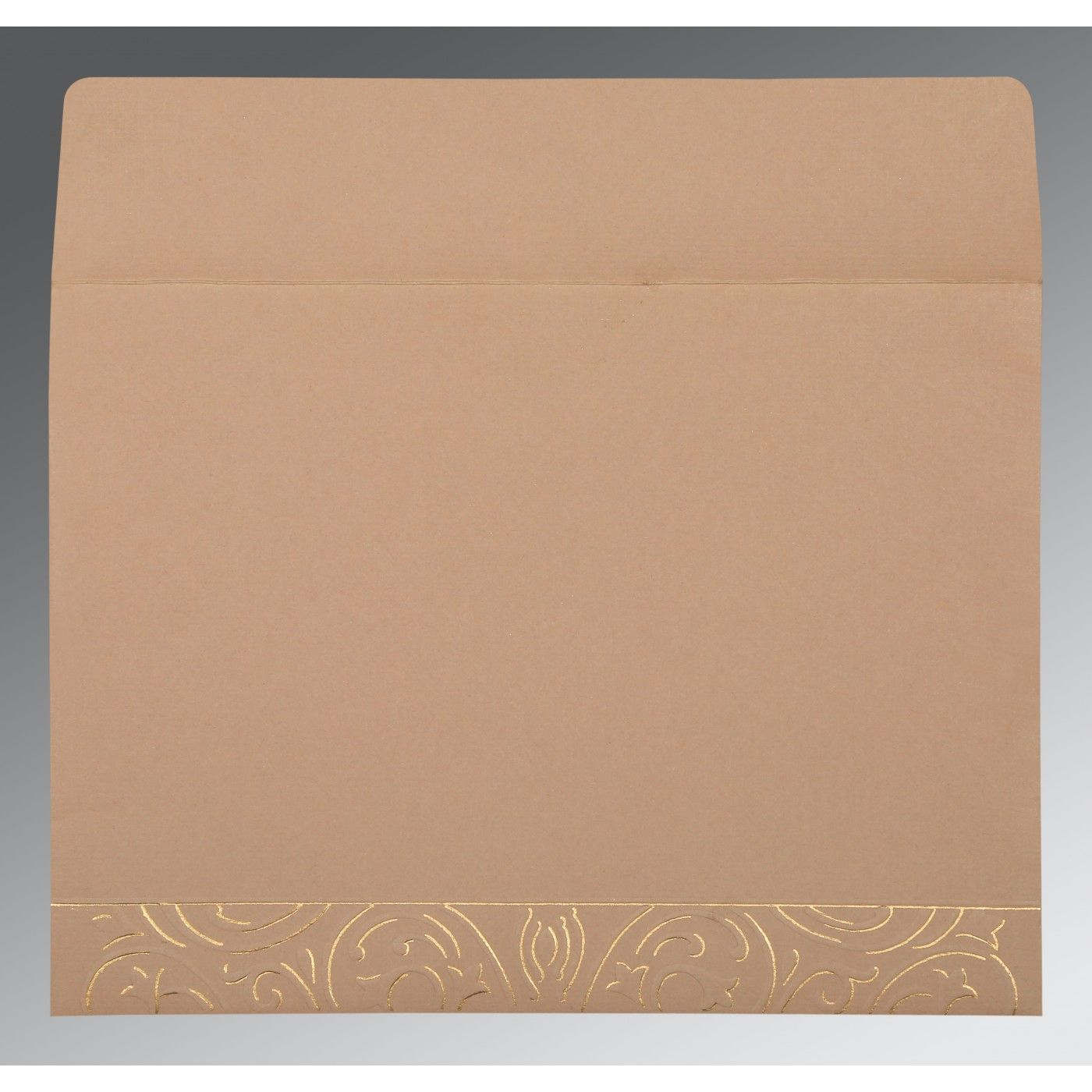 PALE TAUPE HANDMADE SHIMMER EMBOSSED WEDDING CARD : CIN-1394 - IndianWeddingCards