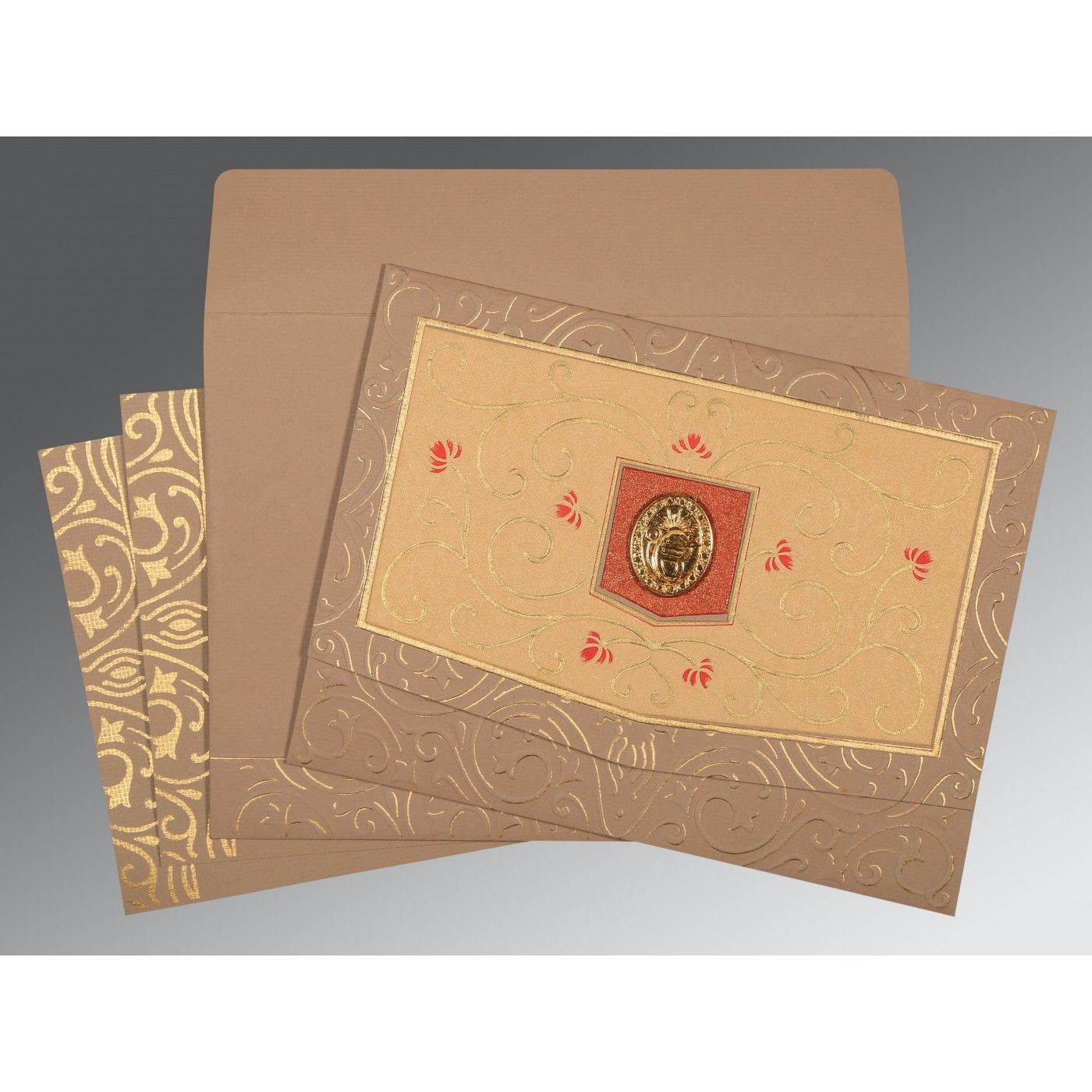 PALE TAUPE HANDMADE SHIMMER EMBOSSED WEDDING CARD : CS-1394 - IndianWeddingCards
