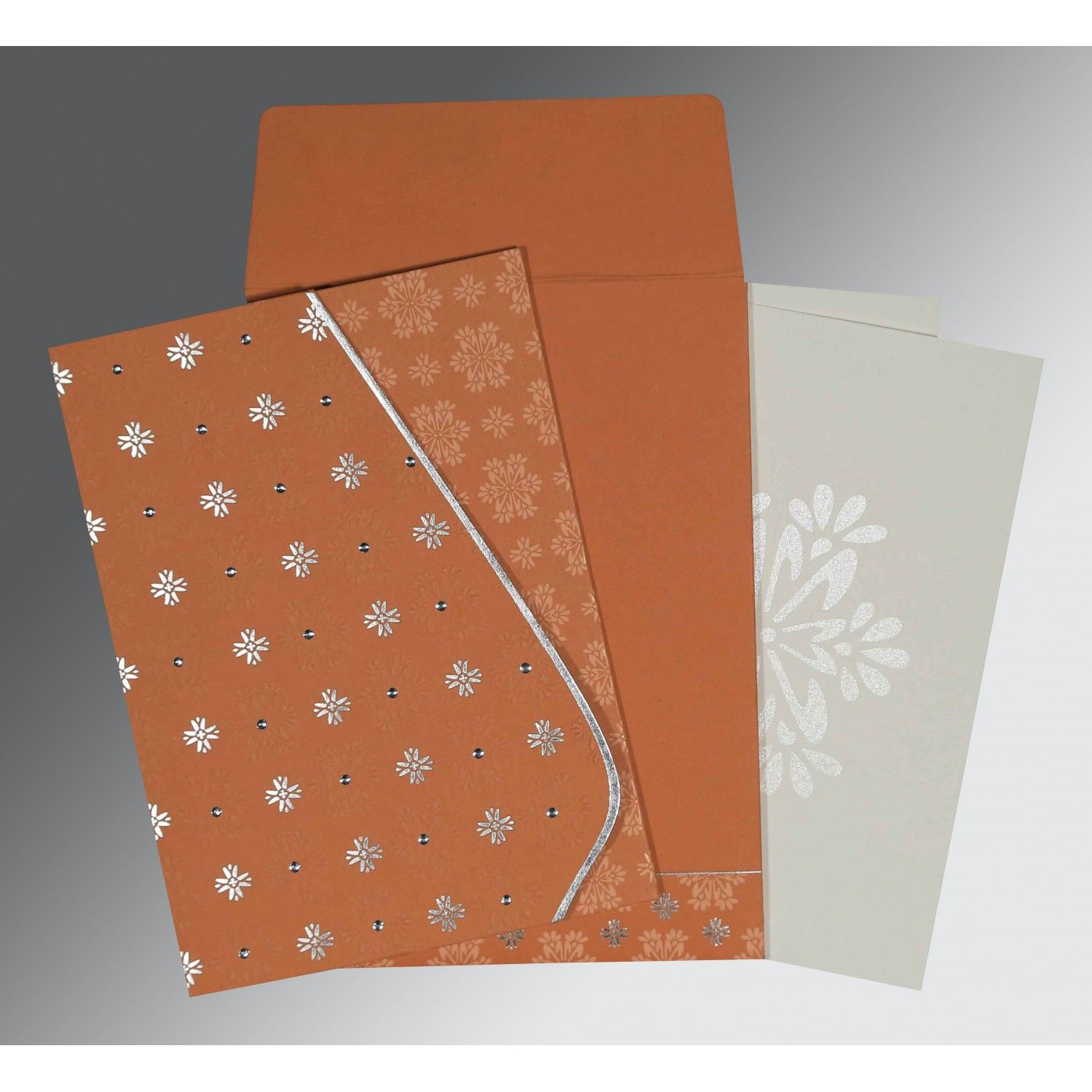 BROWN RUST MATTE FLORAL THEMED - FOIL STAMPED WEDDING INVITATION : CD-8237C - IndianWeddingCards