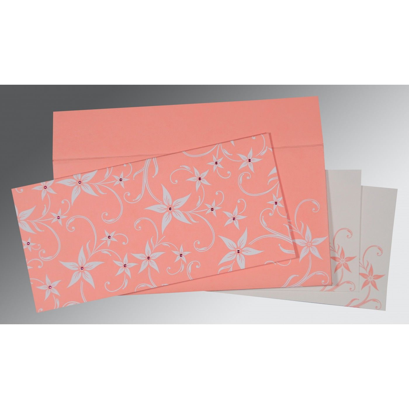 BLUSH PINK MATTE FLORAL THEMED - SCREEN PRINTED WEDDING INVITATION : CD-8225M - IndianWeddingCards
