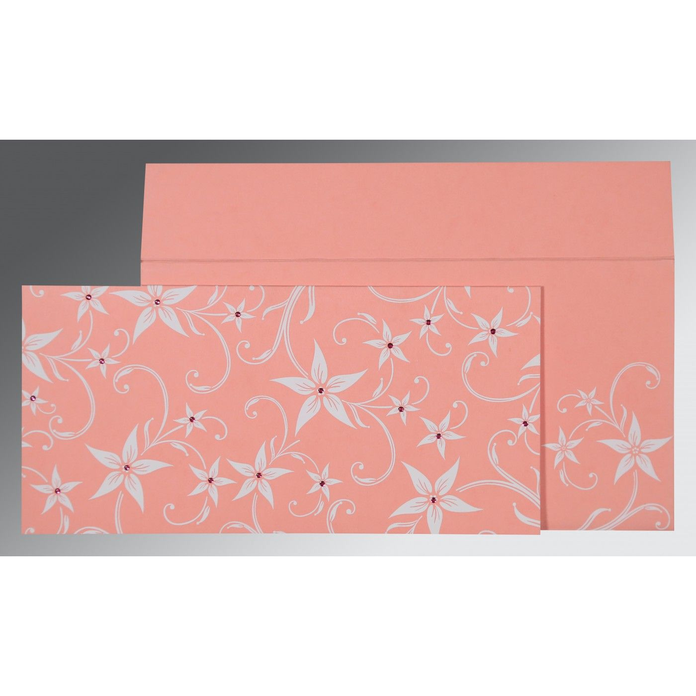BLUSH PINK MATTE FLORAL THEMED - SCREEN PRINTED WEDDING INVITATION : CG-8225M - IndianWeddingCards