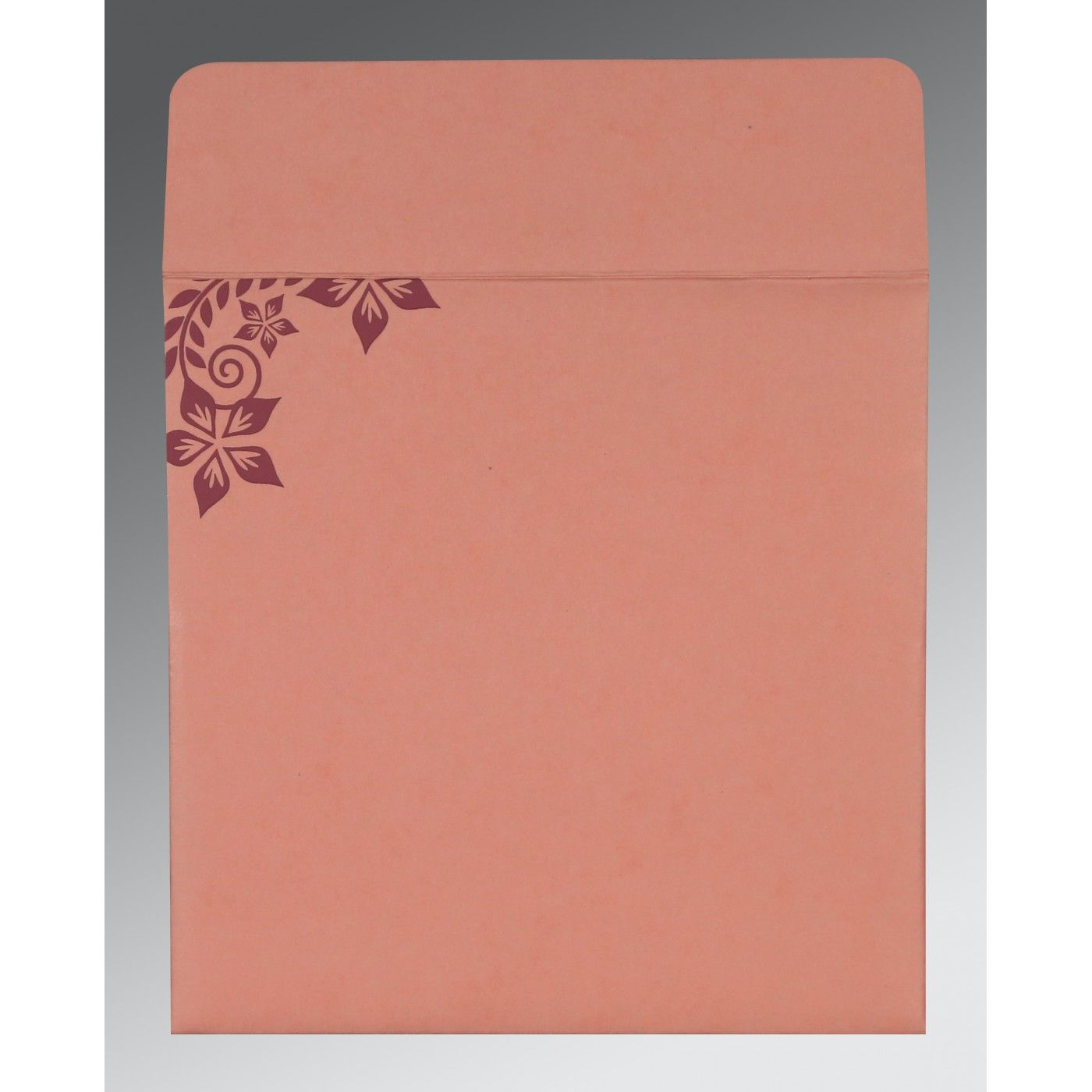 SALMON MATTE FLORAL THEMED - SCREEN PRINTED WEDDING INVITATION : CG-8240G - IndianWeddingCards