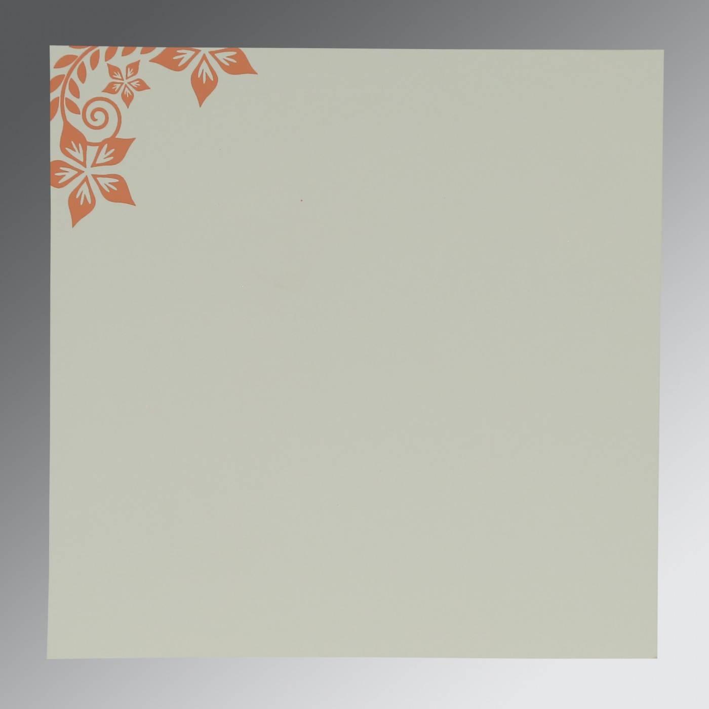 LIGHT BROWN MATTE FLORAL THEMED - SCREEN PRINTED WEDDING INVITATION : CG-8240H - IndianWeddingCards