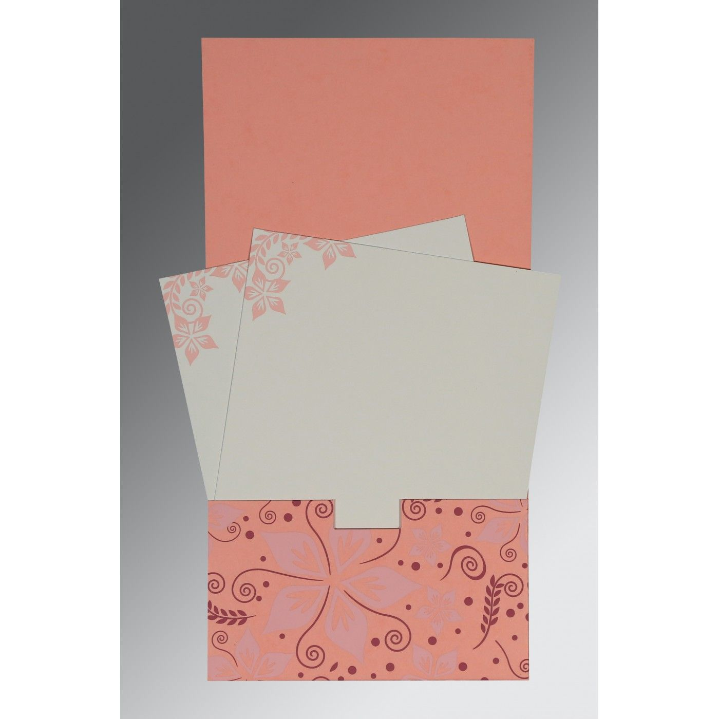 SALMON MATTE FLORAL THEMED - SCREEN PRINTED WEDDING INVITATION : CI-8240G - IndianWeddingCards