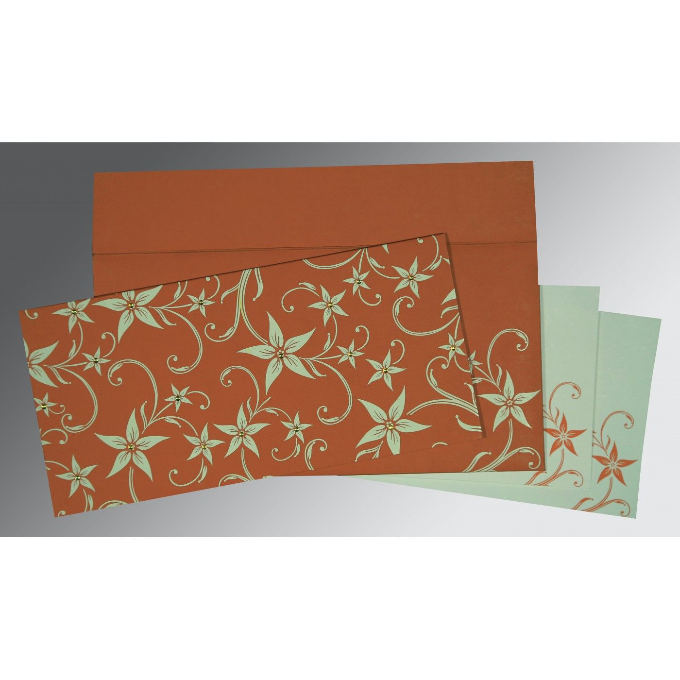 BURNT ORANGE MATTE FLORAL THEMED - SCREEN PRINTED WEDDING INVITATION : CS-8225G - IndianWeddingCards