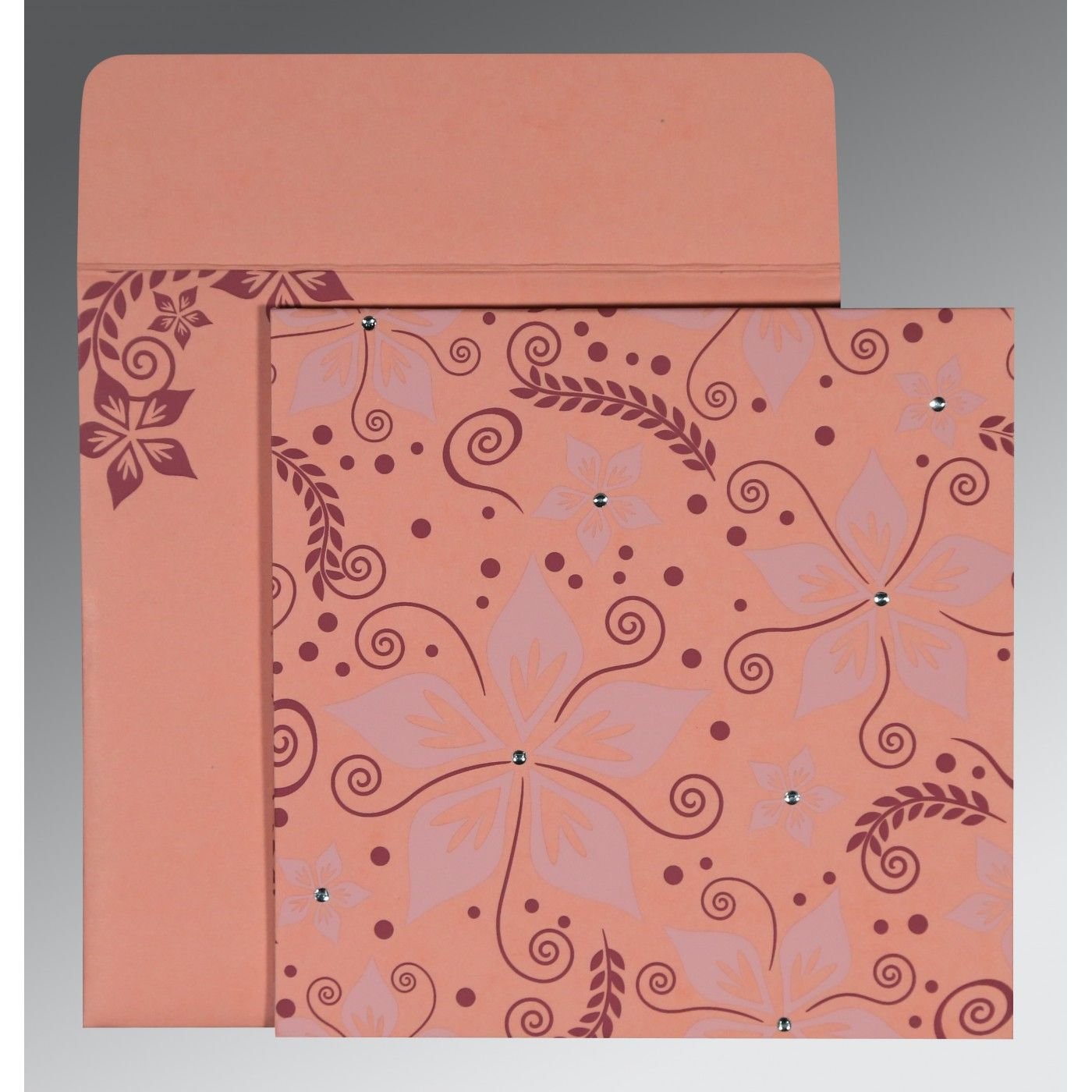 SALMON MATTE FLORAL THEMED - SCREEN PRINTED WEDDING INVITATION : CS-8240G - IndianWeddingCards