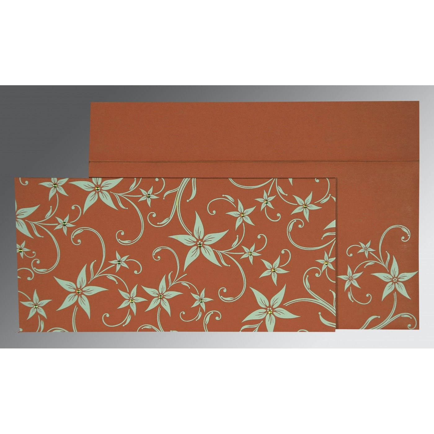 BURNT ORANGE MATTE FLORAL THEMED - SCREEN PRINTED WEDDING INVITATION : CSO-8225G - IndianWeddingCards