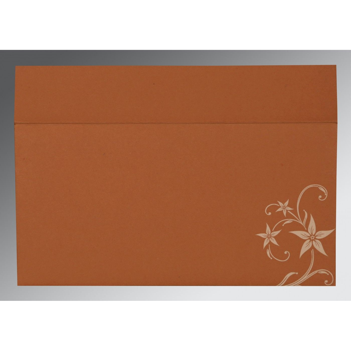 BURNT ORANGE MATTE FLORAL THEMED - SCREEN PRINTED WEDDING INVITATION : CW-8225G - IndianWeddingCards