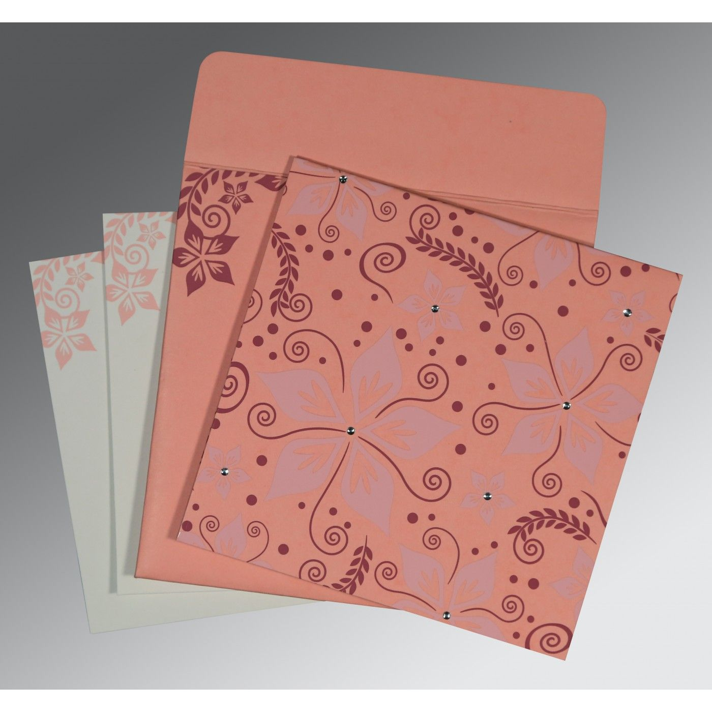 SALMON MATTE FLORAL THEMED - SCREEN PRINTED WEDDING INVITATION : CW-8240G - IndianWeddingCards