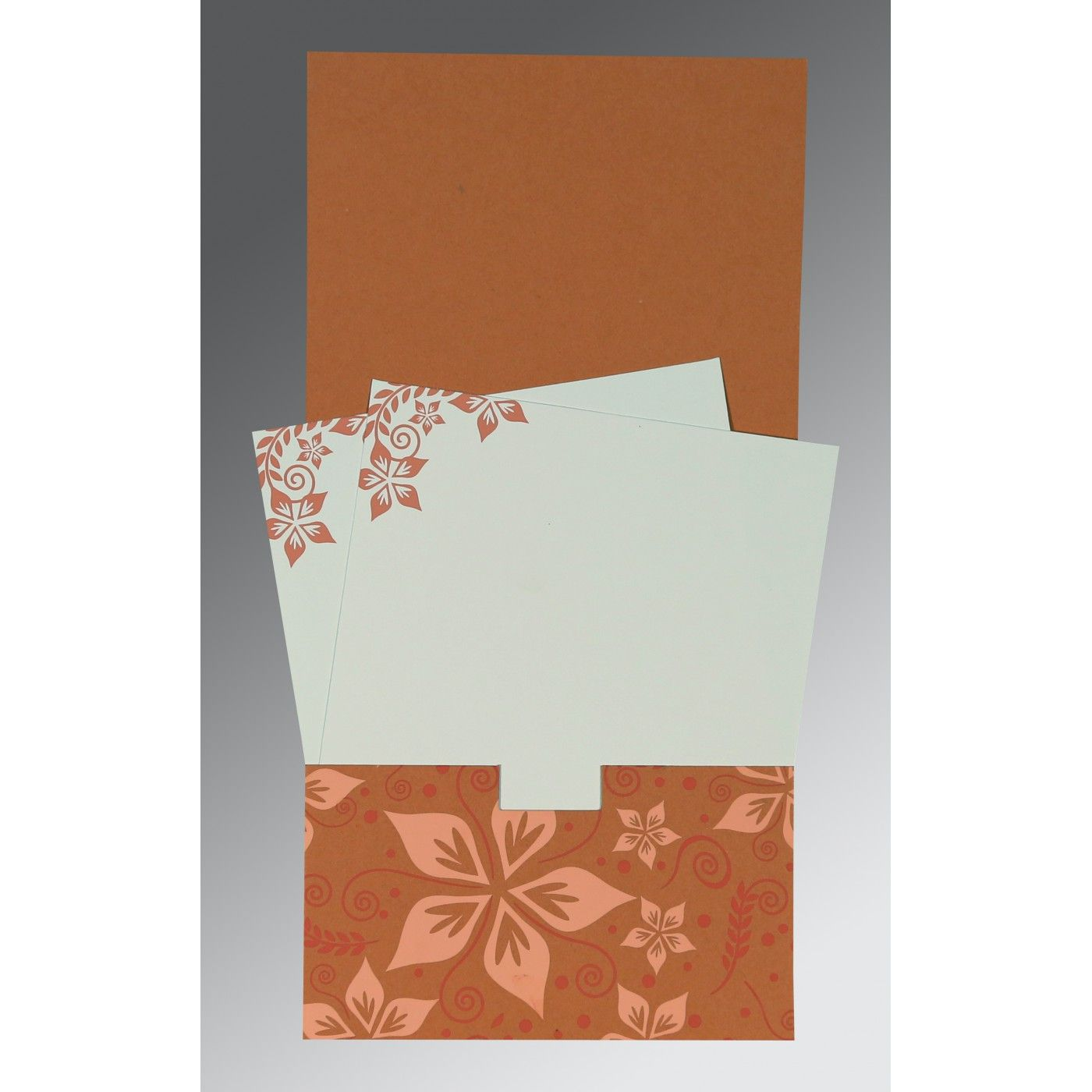 LIGHT BROWN MATTE FLORAL THEMED - SCREEN PRINTED WEDDING INVITATION : CW-8240H - IndianWeddingCards