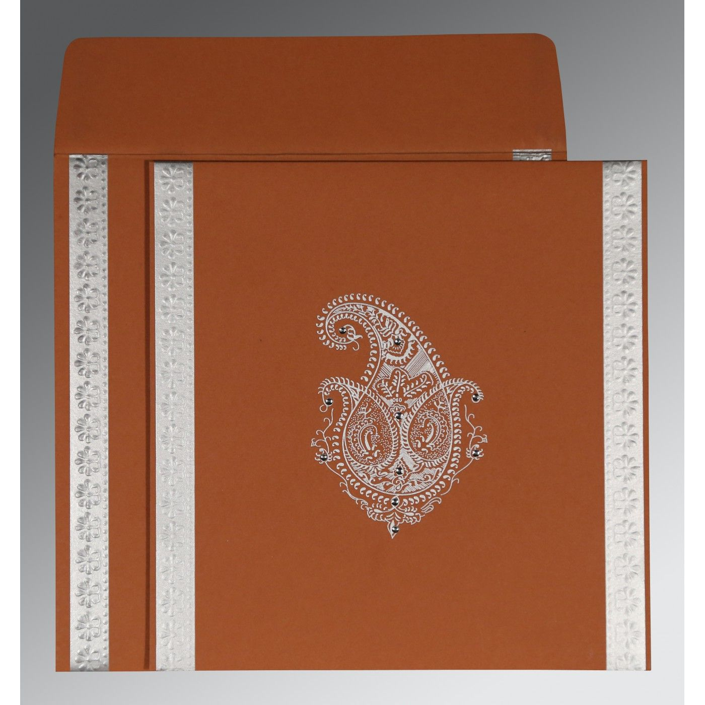 BROWN RUST MATTE PAISLEY THEMED - EMBOSSED WEDDING INVITATION : CI-8231E - IndianWeddingCards