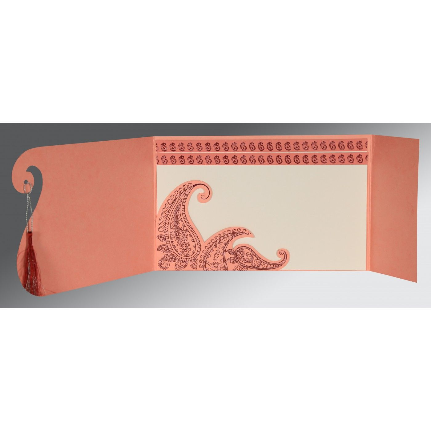 SALMON MATTE PAISLEY THEMED - SCREEN PRINTED WEDDING INVITATION : CD-8252G - IndianWeddingCards