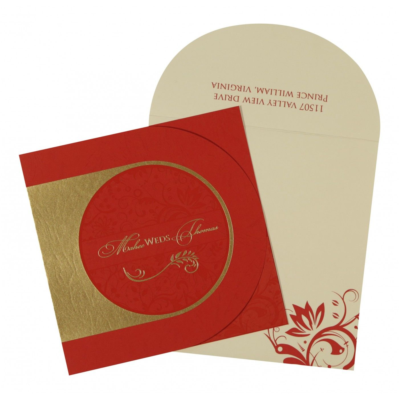 DARK RED MATTE PAISLEY THEMED - SCREEN PRINTED WEDDING CARD : CG-8264D - IndianWeddingCards