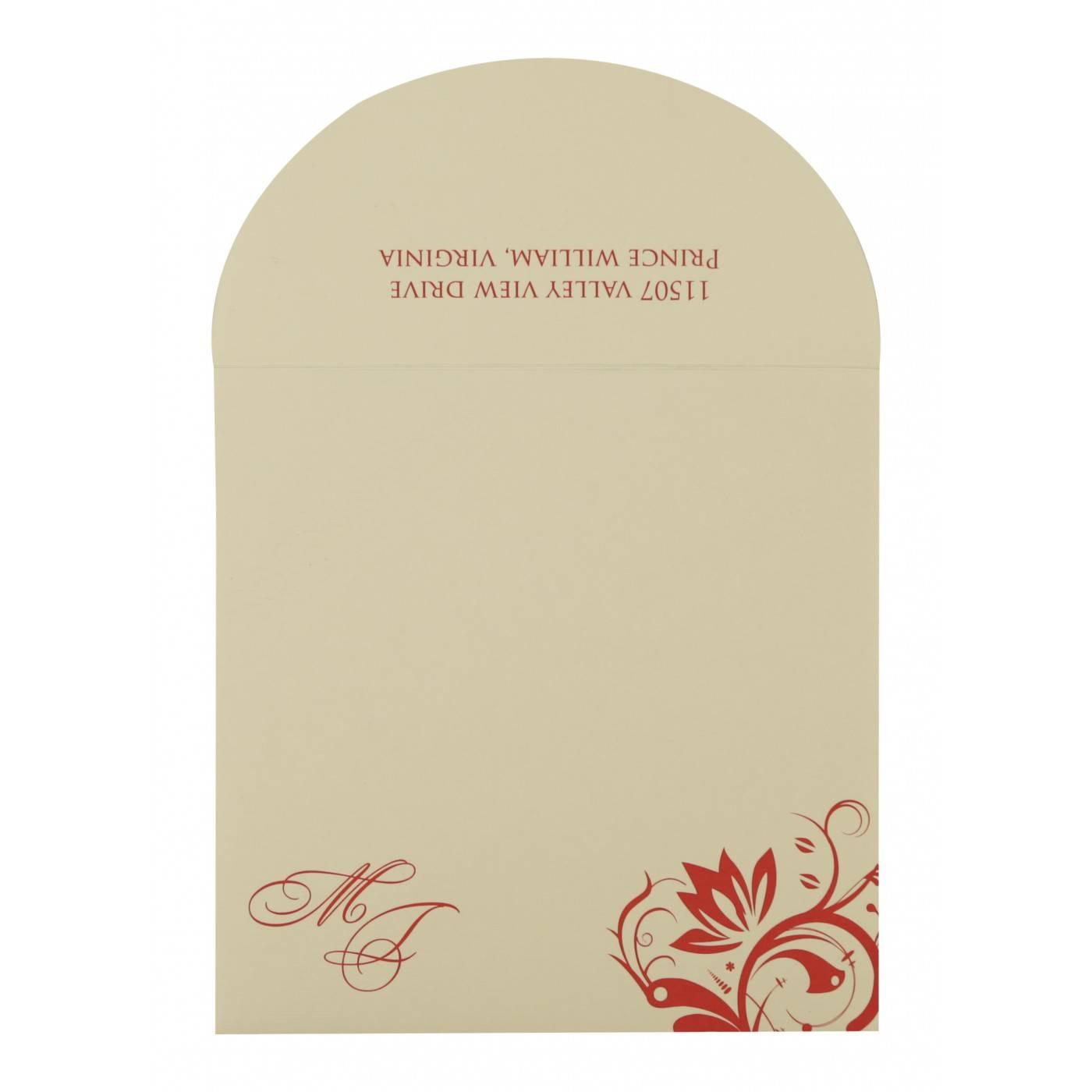 DARK RED MATTE PAISLEY THEMED - SCREEN PRINTED WEDDING CARD : CRU-8264D - IndianWeddingCards