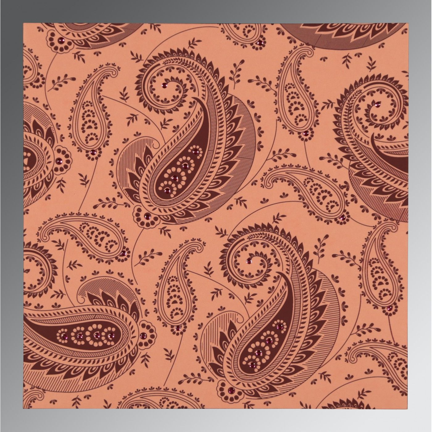 SWEET NECTAR MATTE PAISLEY THEMED - SCREEN PRINTED WEDDING CARD : CSO-8250F - IndianWeddingCards