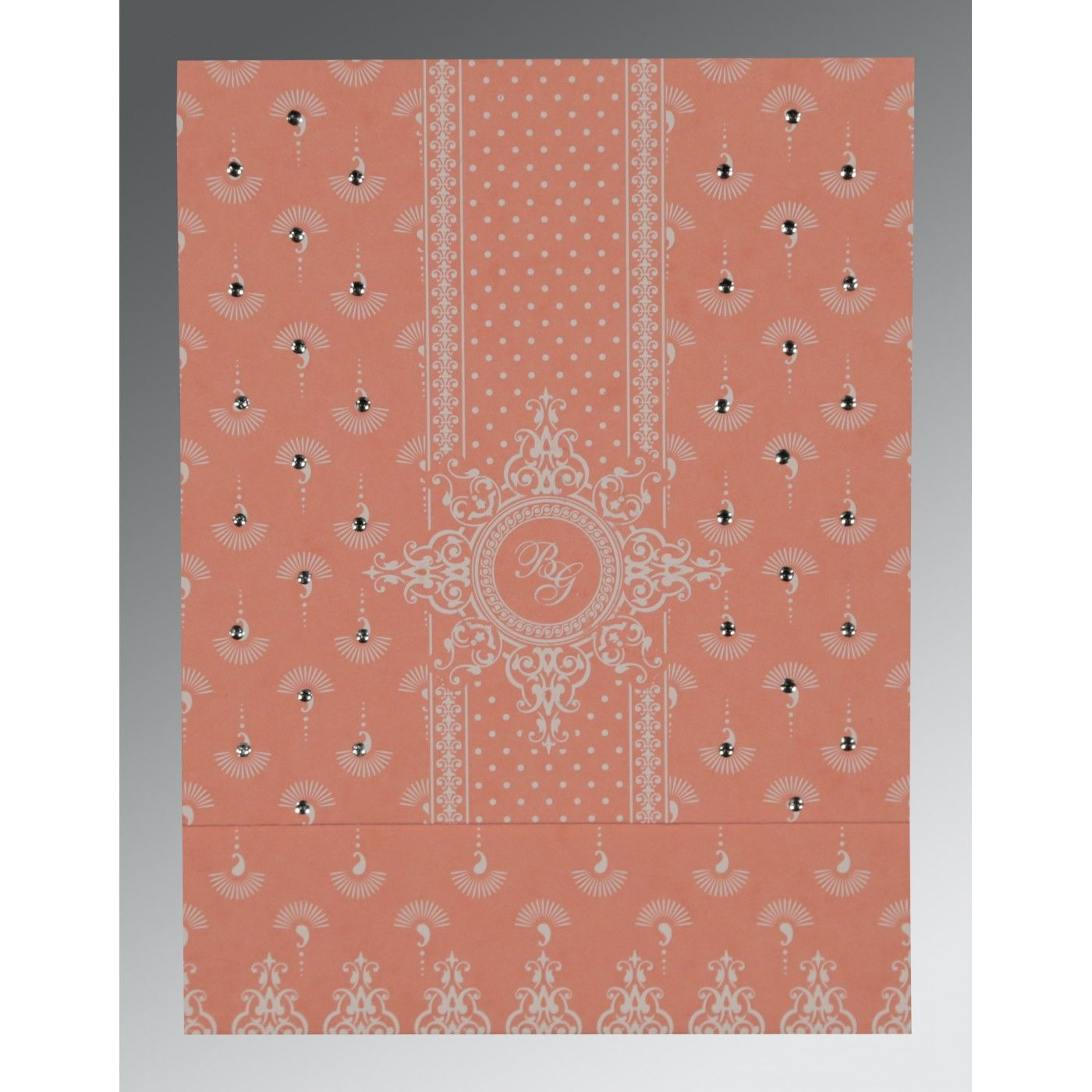 PEACH MATTE SCREEN PRINTED WEDDING INVITATION : CIN-8247A - IndianWeddingCards