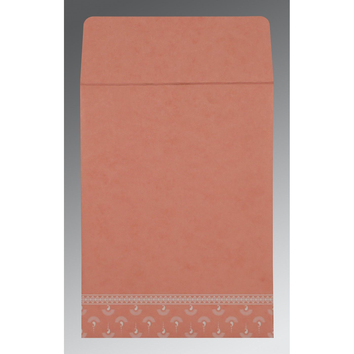 PEACH MATTE SCREEN PRINTED WEDDING INVITATION : CW-8247A - IndianWeddingCards