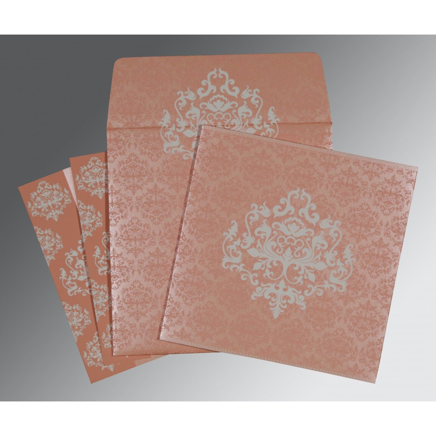 PINK SHIMMERY DAMASK THEMED - SCREEN PRINTED WEDDING CARD : CG-8254G - IndianWeddingCards