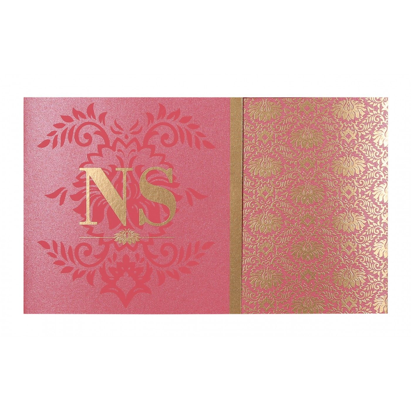 HOT PINK SHIMMERY DAMASK THEMED - SCREEN PRINTED WEDDING INVITATION : CS-8261B - IndianWeddingCards