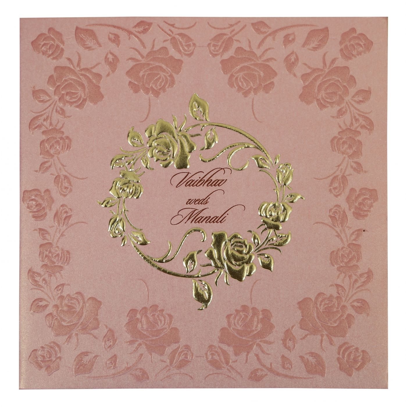 BABY PINK SHIMMERY FLORAL THEMED - FOIL STAMPED WEDDING INVITATION : CD-1787 - IndianWeddingCards