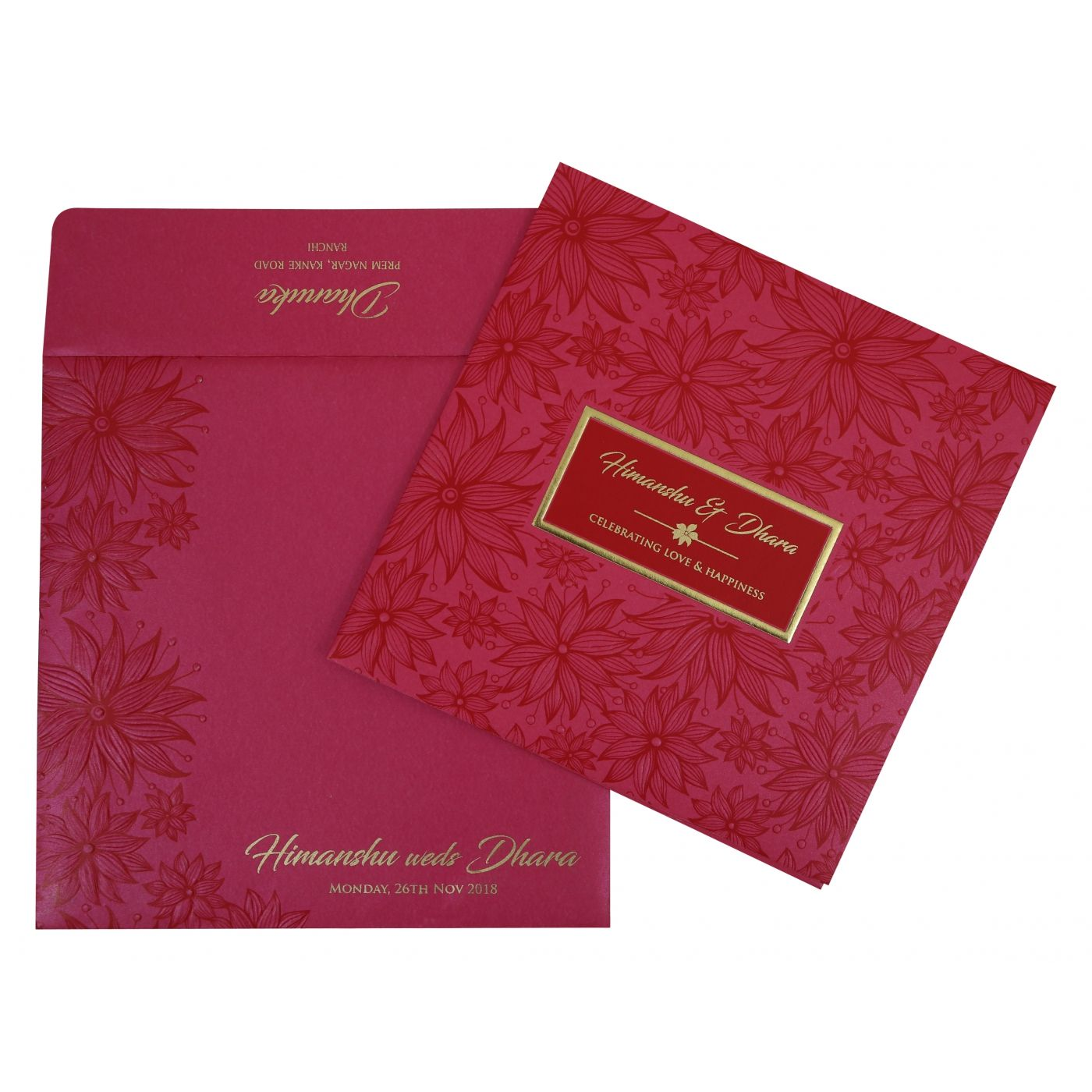 HOT PINK SHIMMERY FLORAL THEMED - FOIL STAMPED WEDDING INVITATION : CI-1783 - IndianWeddingCards