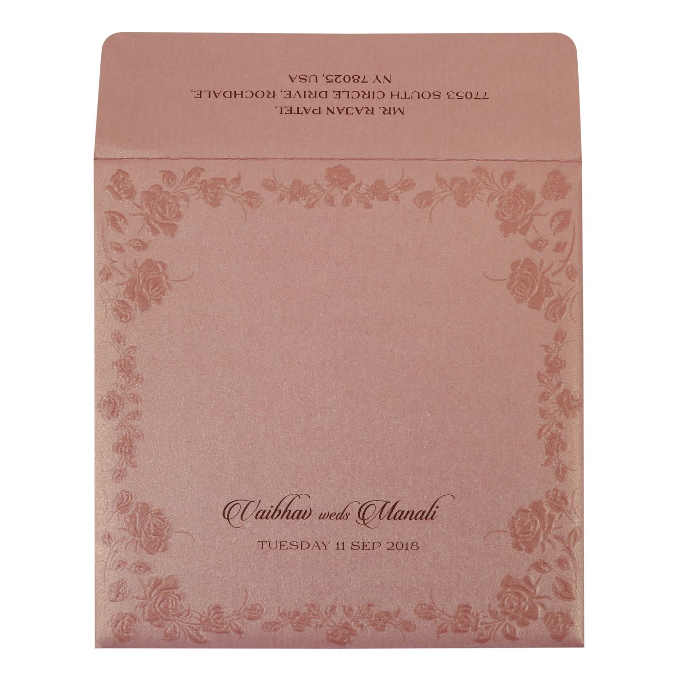 BABY PINK SHIMMERY FLORAL THEMED - FOIL STAMPED WEDDING INVITATION : CI-1787 - IndianWeddingCards