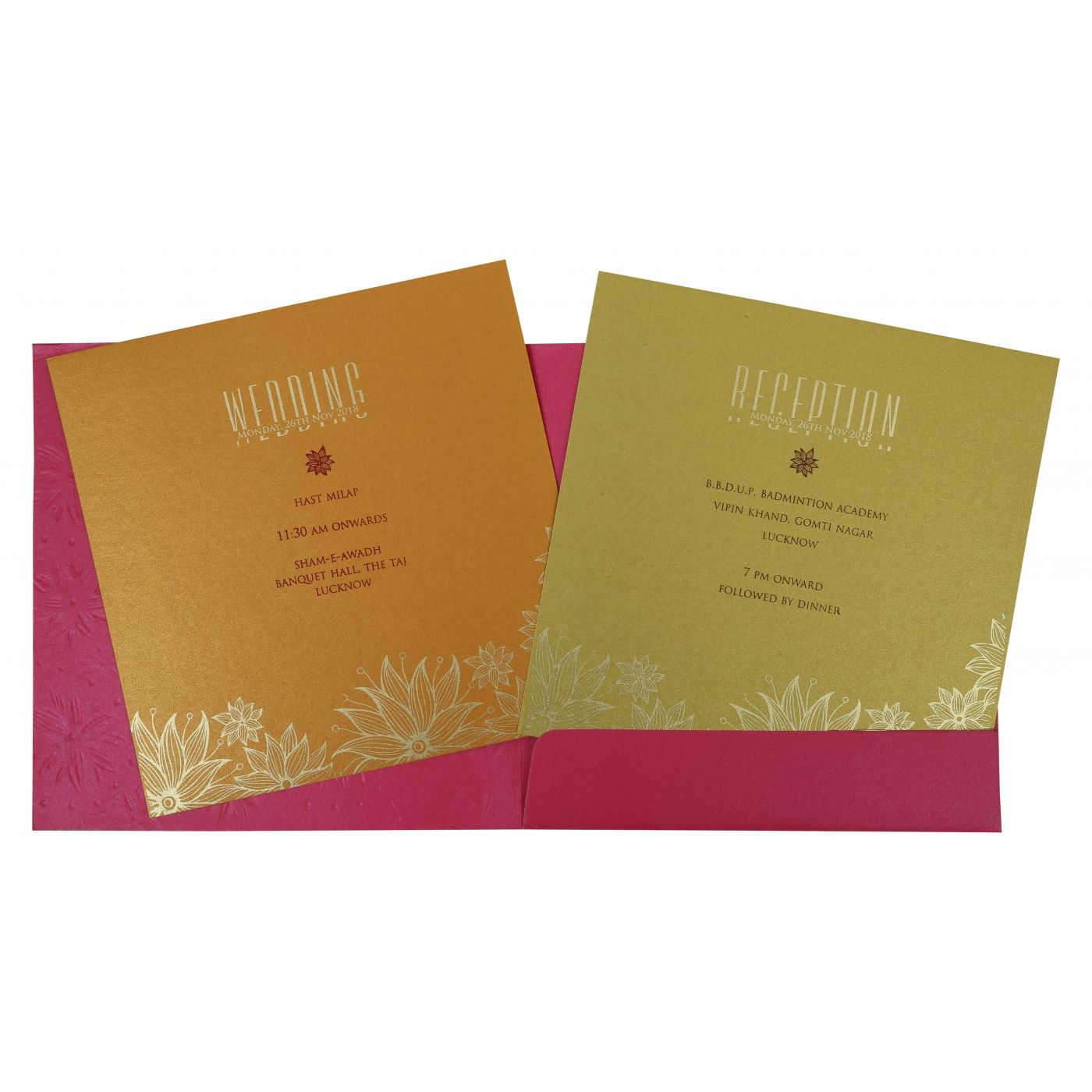HOT PINK SHIMMERY FLORAL THEMED - FOIL STAMPED WEDDING INVITATION : CS-1783 - IndianWeddingCards