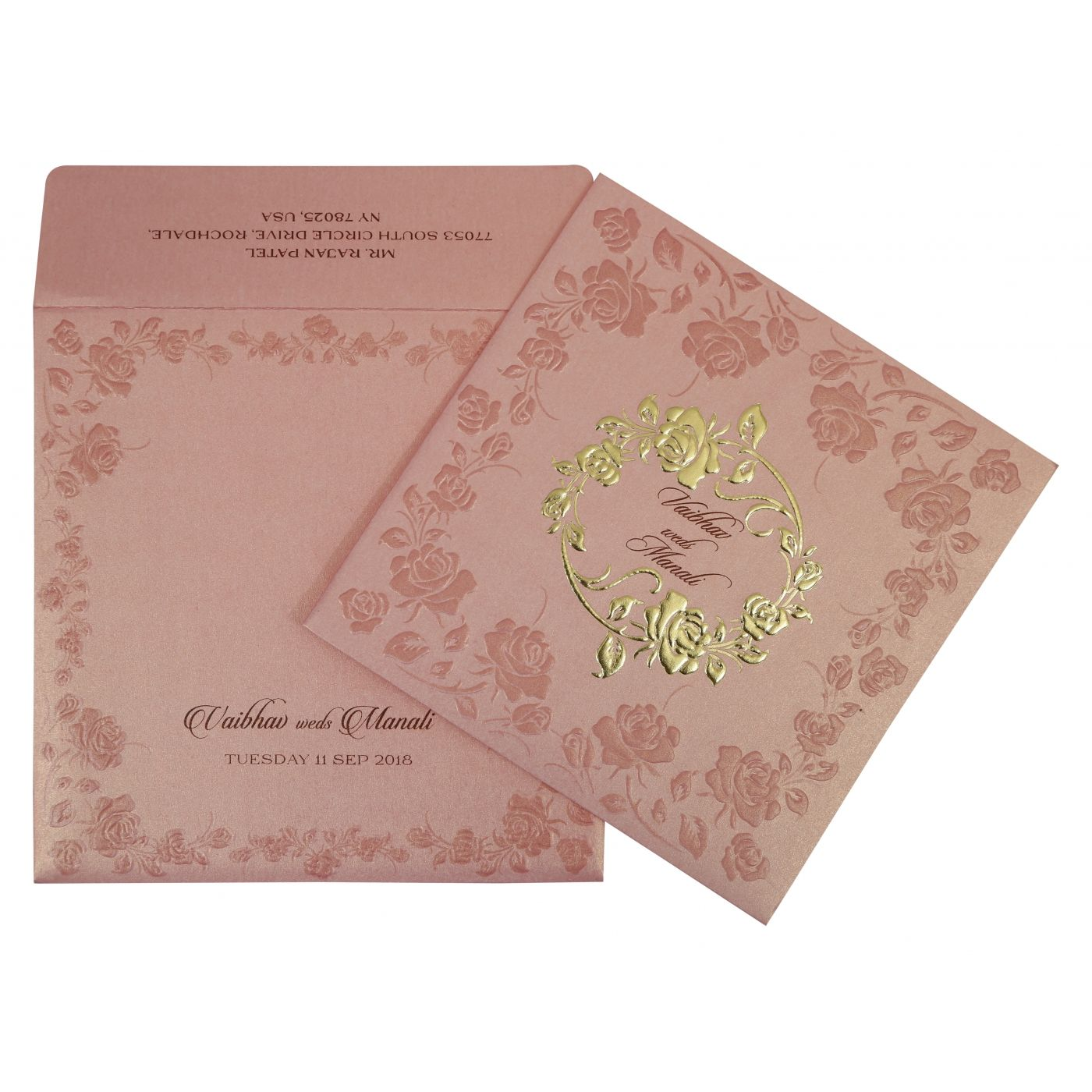 BABY PINK SHIMMERY FLORAL THEMED - FOIL STAMPED WEDDING INVITATION : CW-1787 - IndianWeddingCards